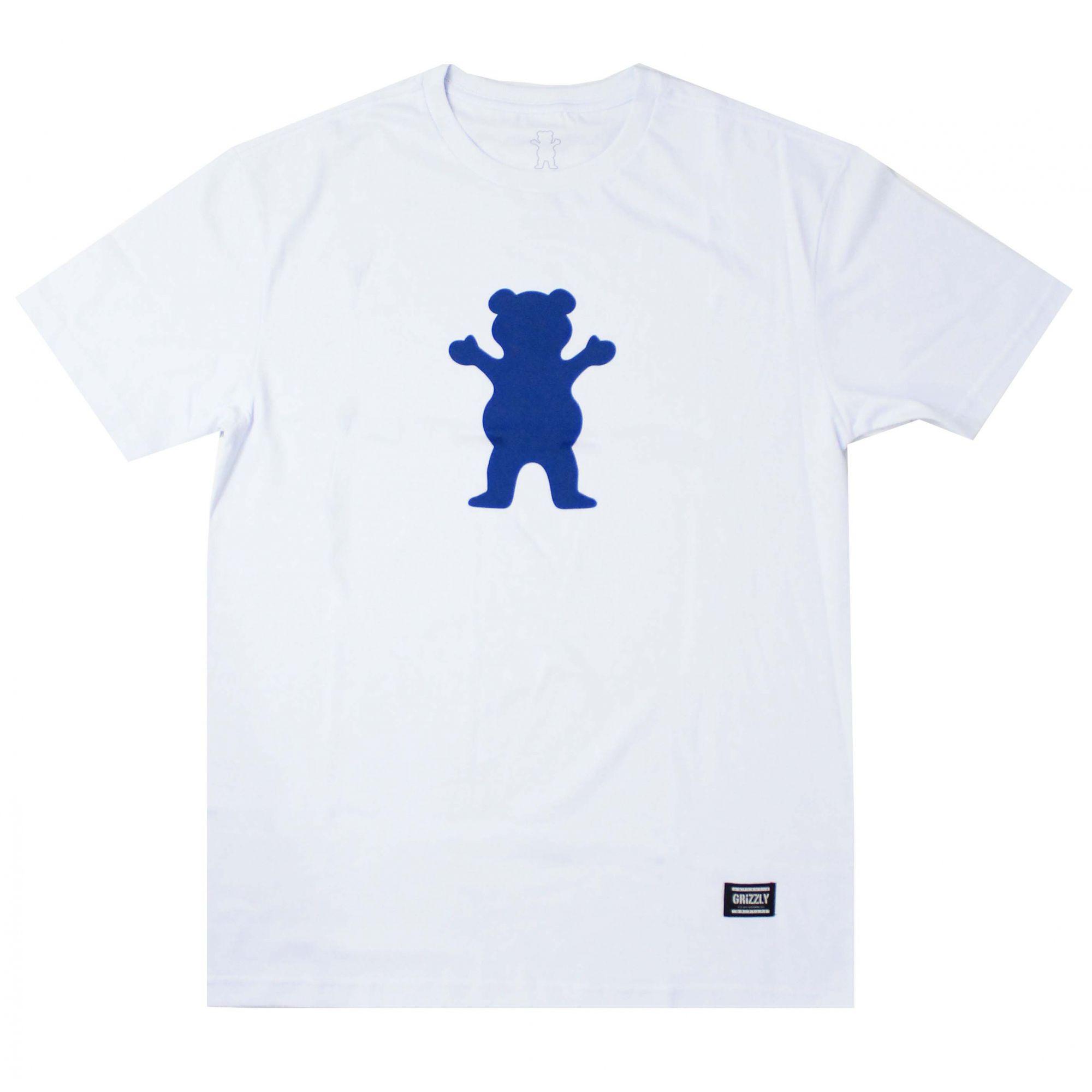 Camiseta Grizzly Og Bear Logo - Branco/Azul