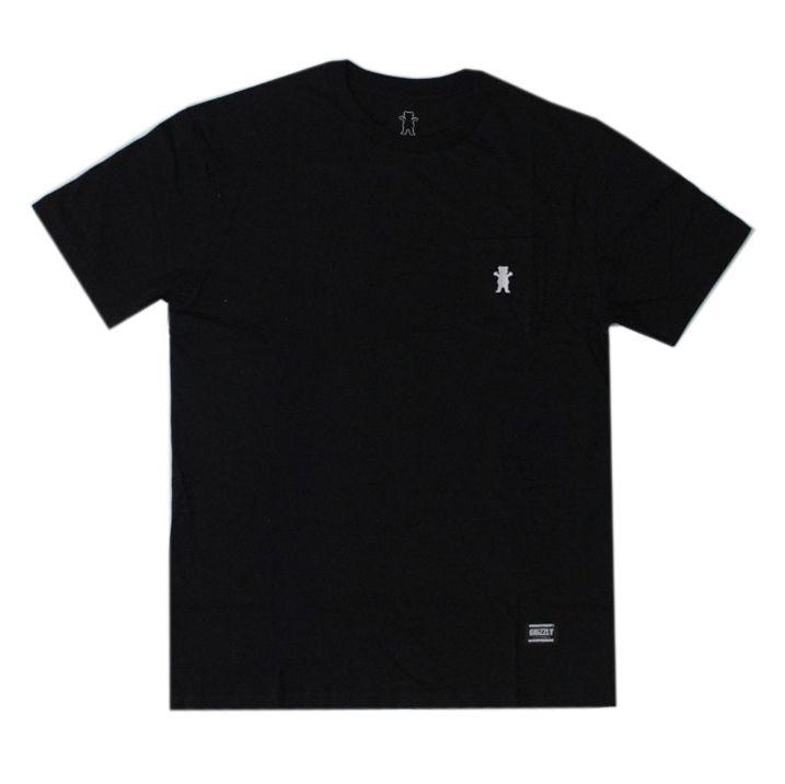Camiseta Grizzly Og Bear Pocket - Preto