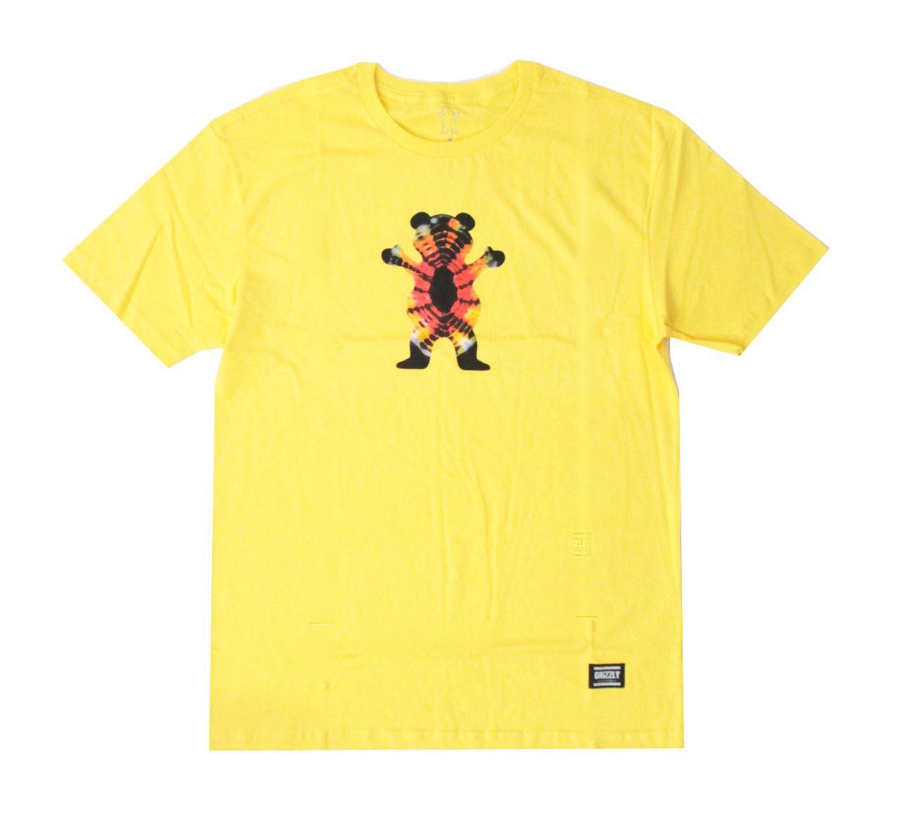 Camiseta Grizzly Og Bear Tie Dye Amarelo