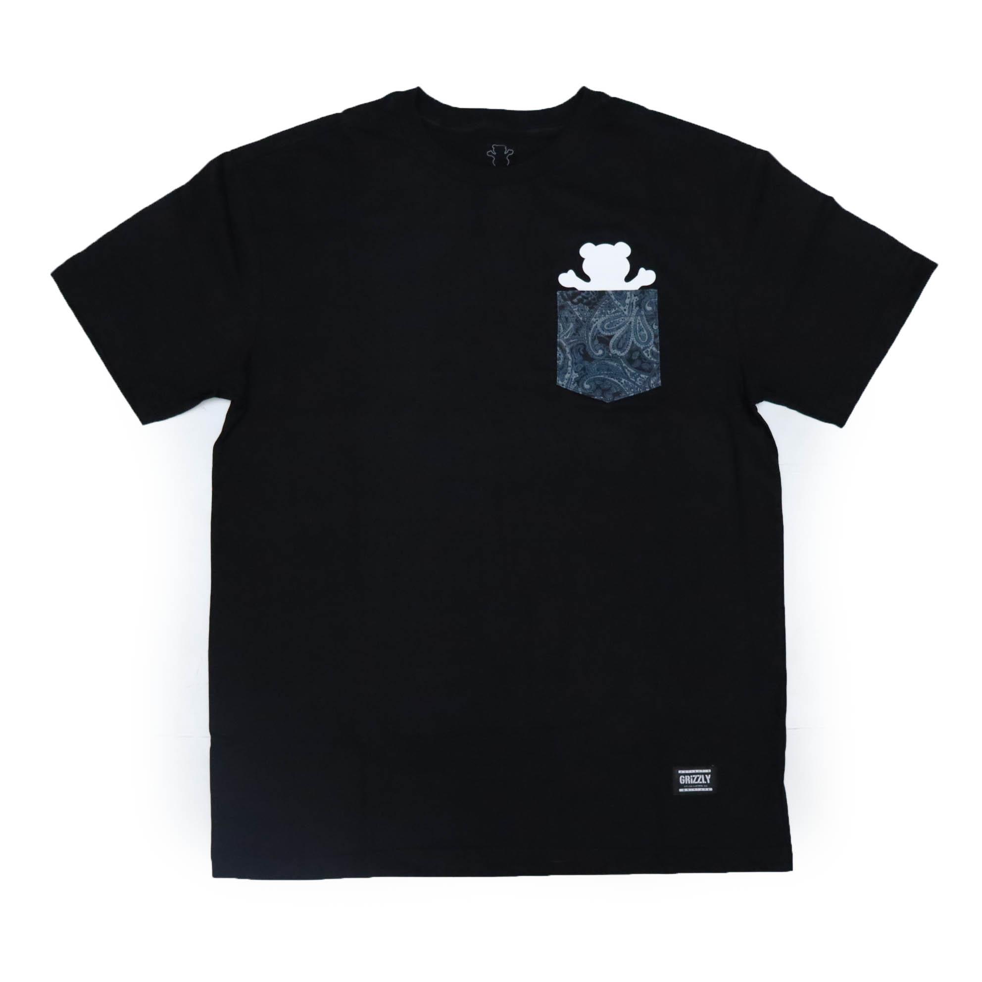 Camiseta Grizzly Paisley Og Bear Pocket - Preto (Com Bolso)
