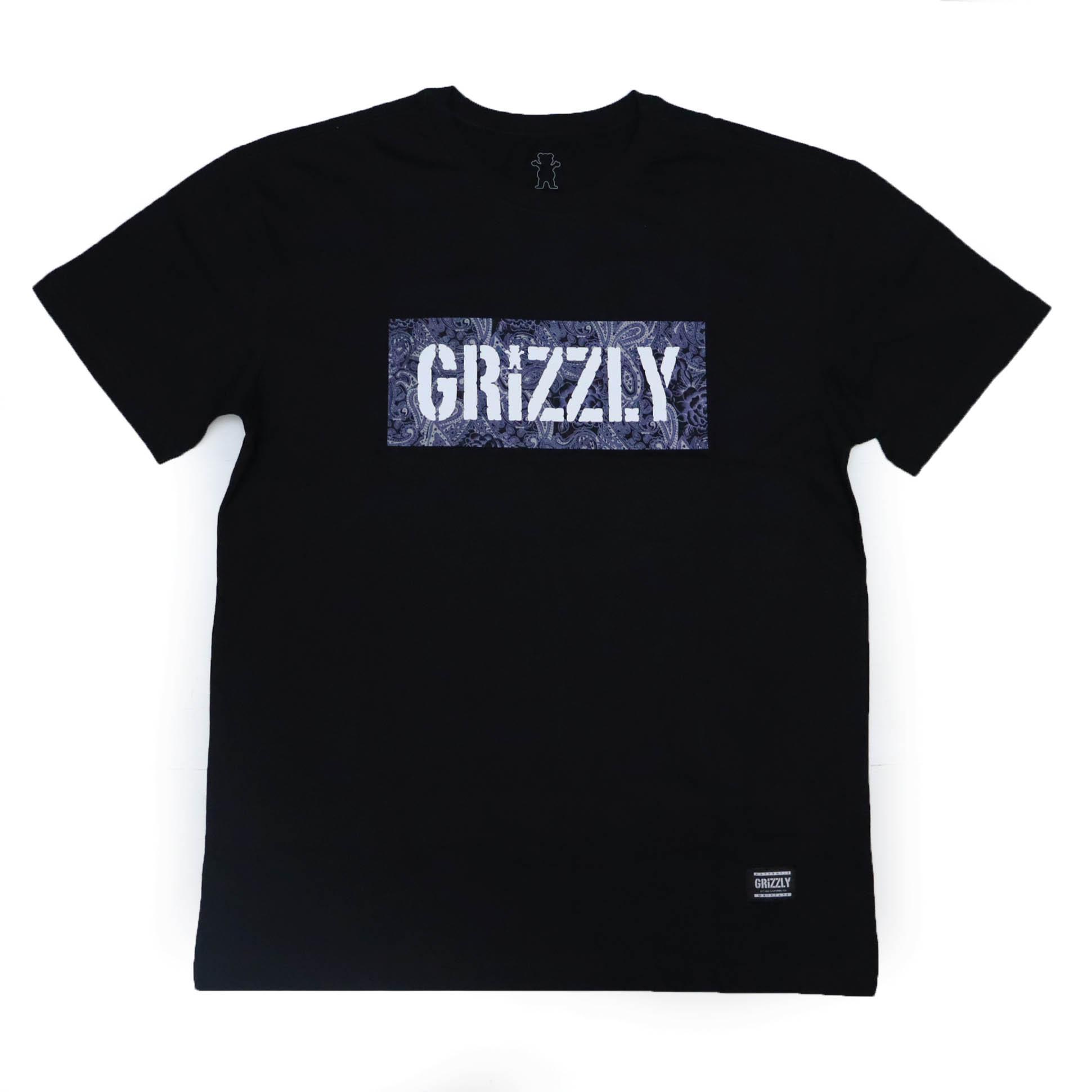 Camiseta Grizzly Paisley Stamp Logo - Preto