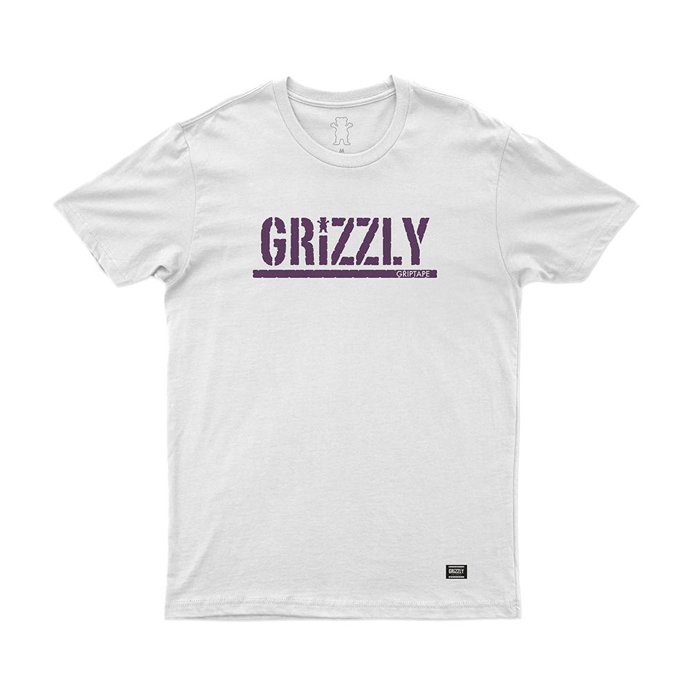 Camiseta Grizzly Stamp - Branco/Roxo