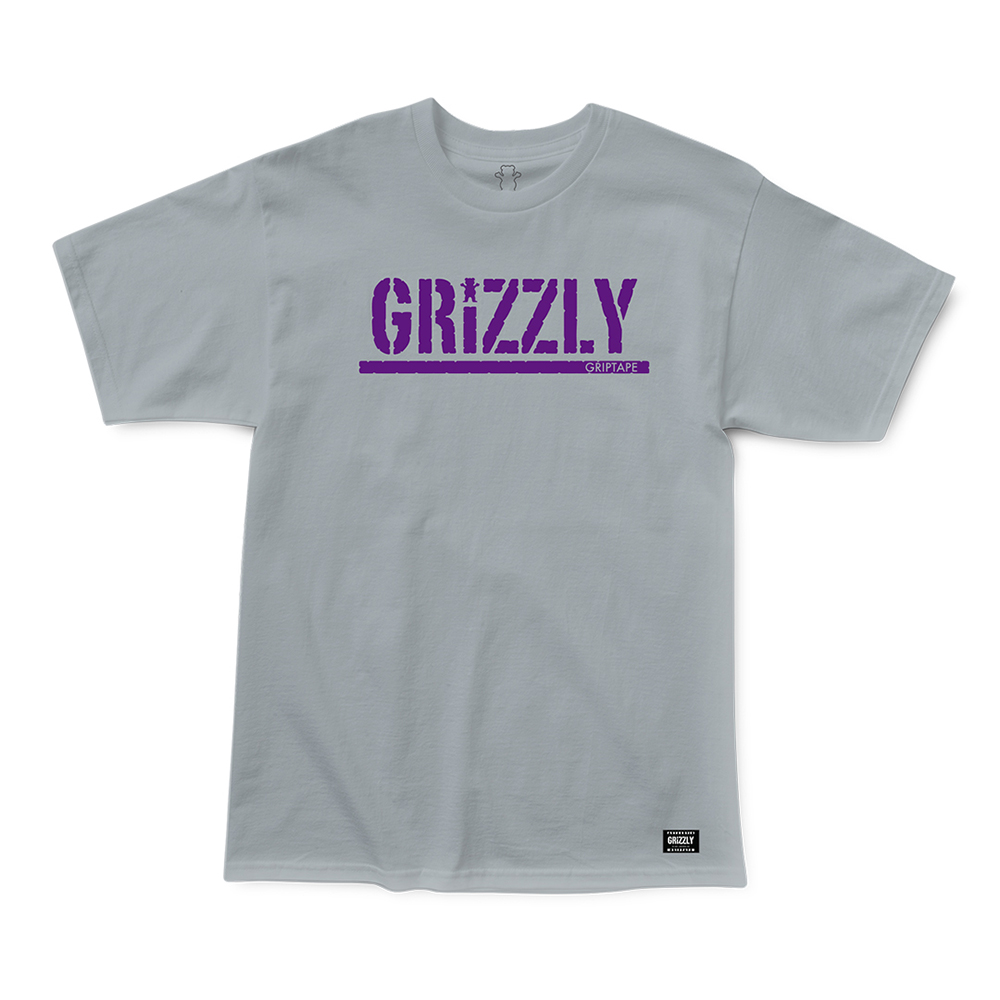 Camiseta Grizzly Stamp - Cinza Mescla/Roxo