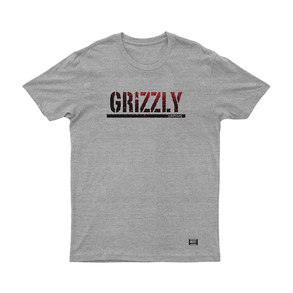 Camiseta Grizzly Stamp Fadeway - Cinza Mescla