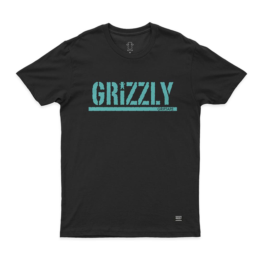 Camiseta Grizzly Stamp - Preto/Verde Água