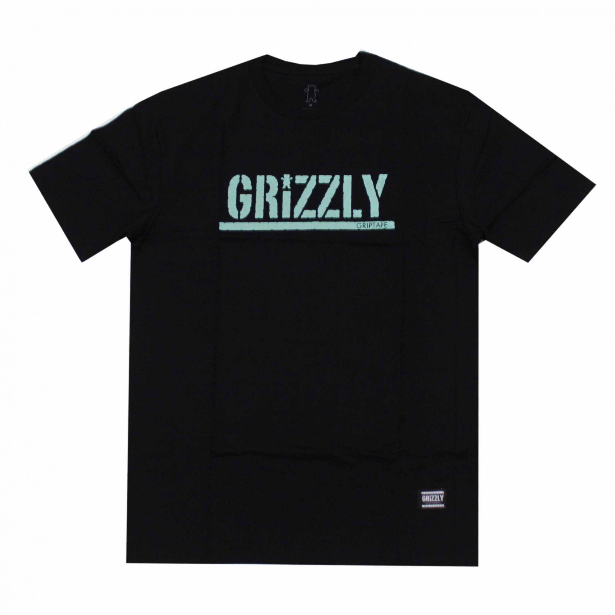 Camiseta Grizzly Stamped Preto/Verde Água