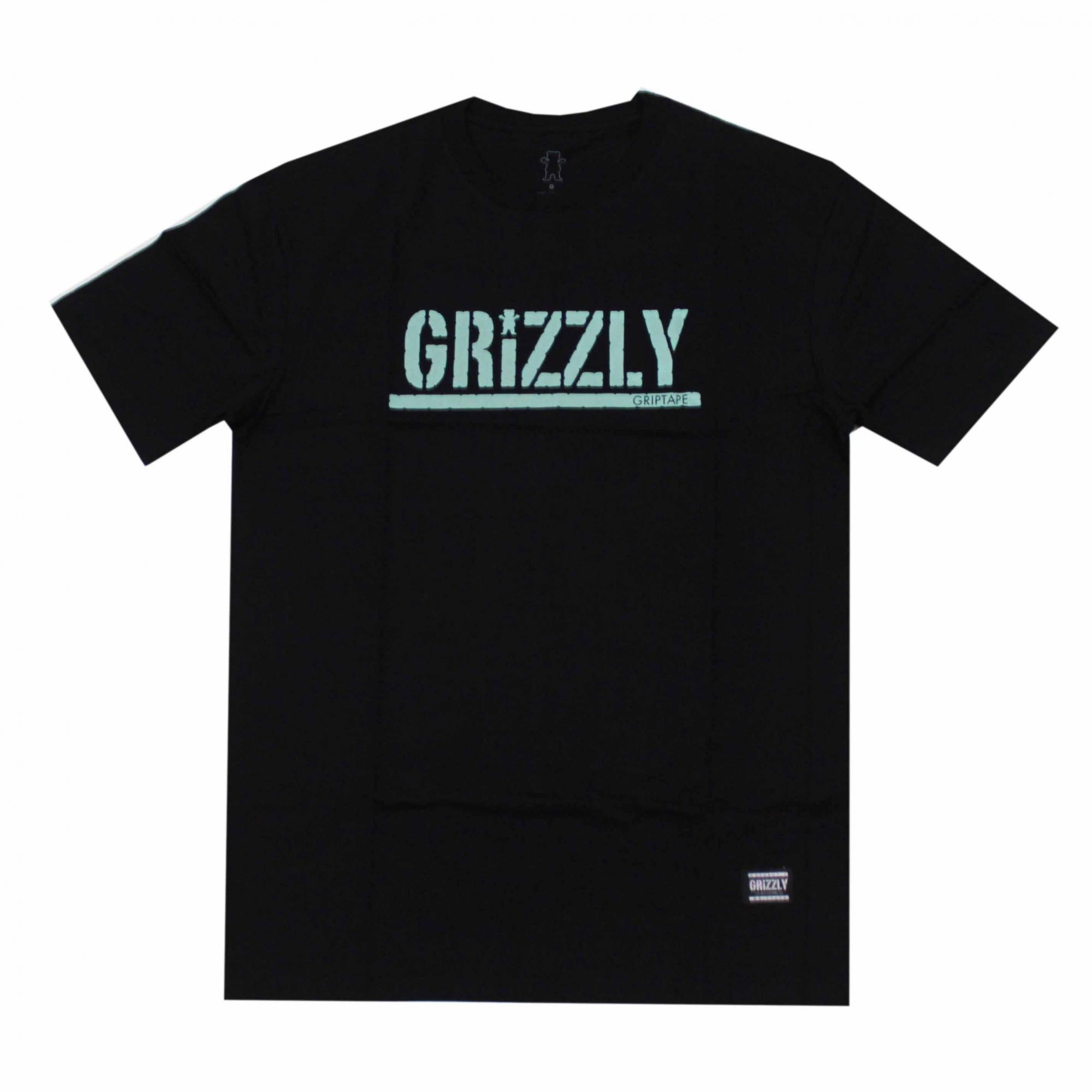 Camiseta Grizzly Stamped - Preto/Verde Água