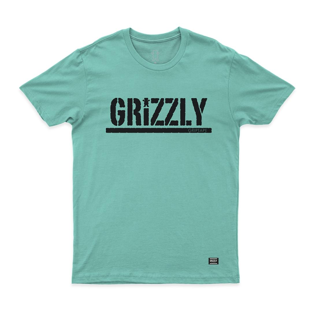 Camiseta Grizzly Stamped - Verde Água/Preto