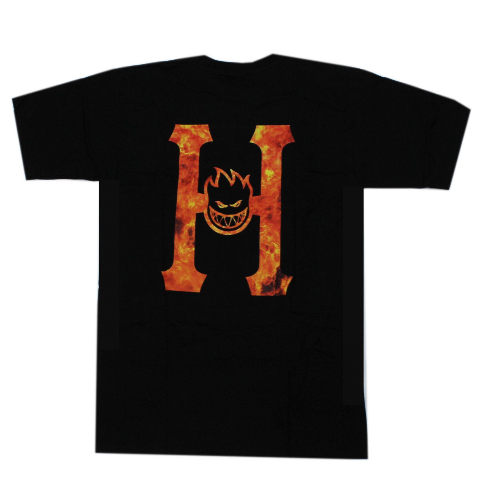 Camiseta HUF x Spitfire Flaming Preto (Importado)