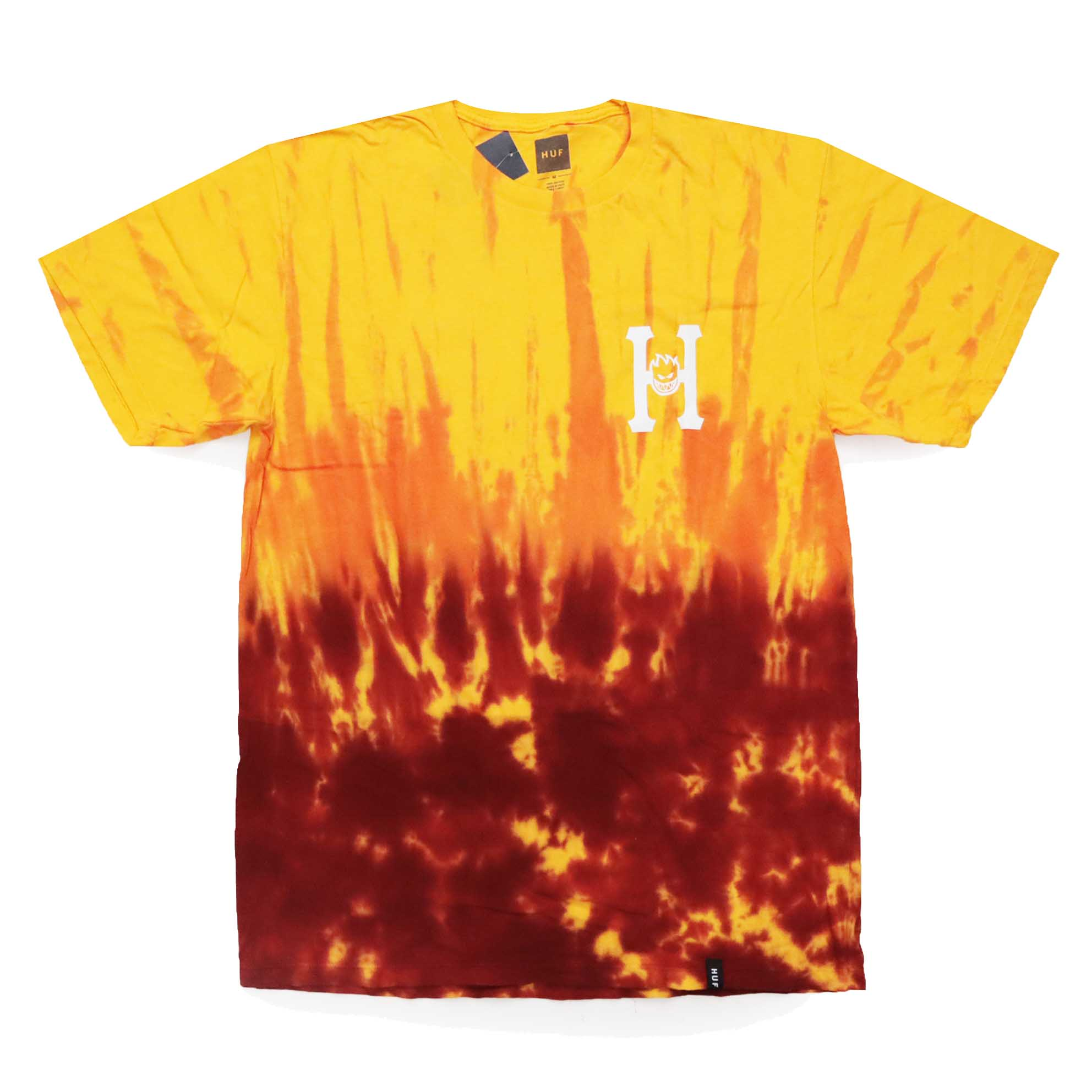 Camiseta HUF x Spitfire Flaming - Tie Dye Amarela/Vermelho (Importado)