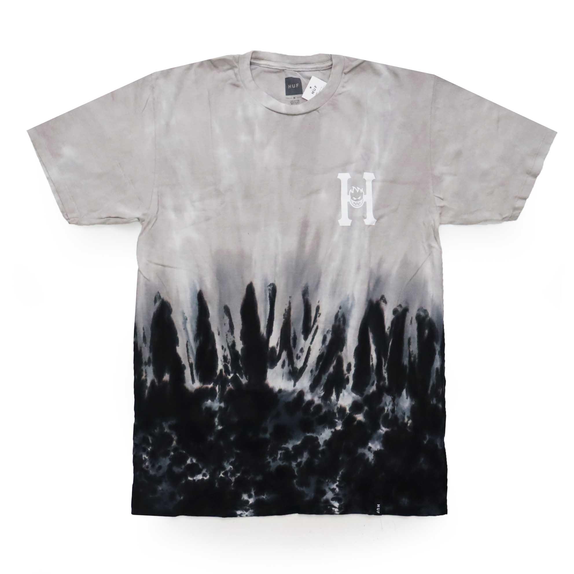 Camiseta HUF x Spitfire Flaming  - Tie Dye Preto/Cinza (Importado)