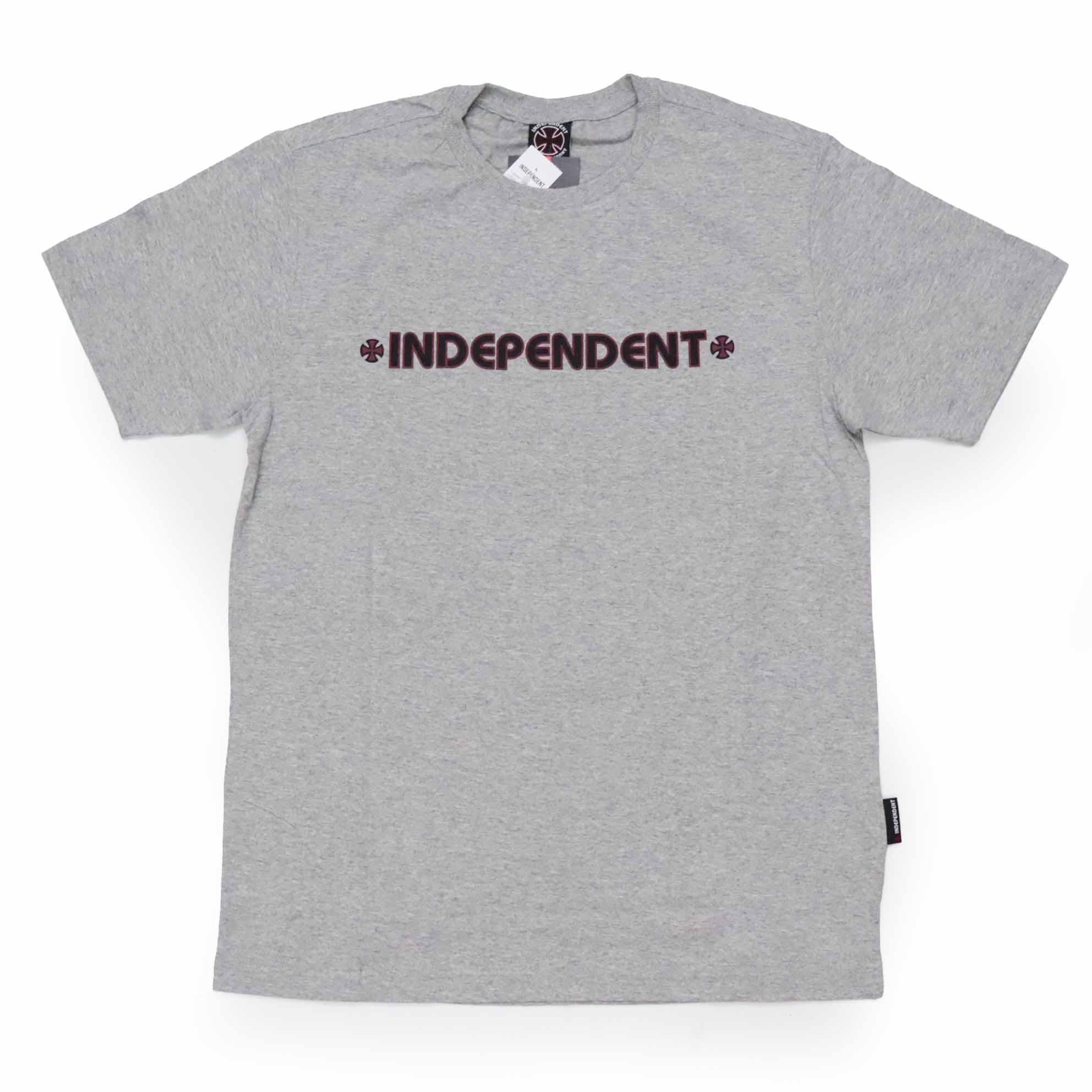 Camiseta Independent Bar Cross Logo 3 - Cinza Mescla