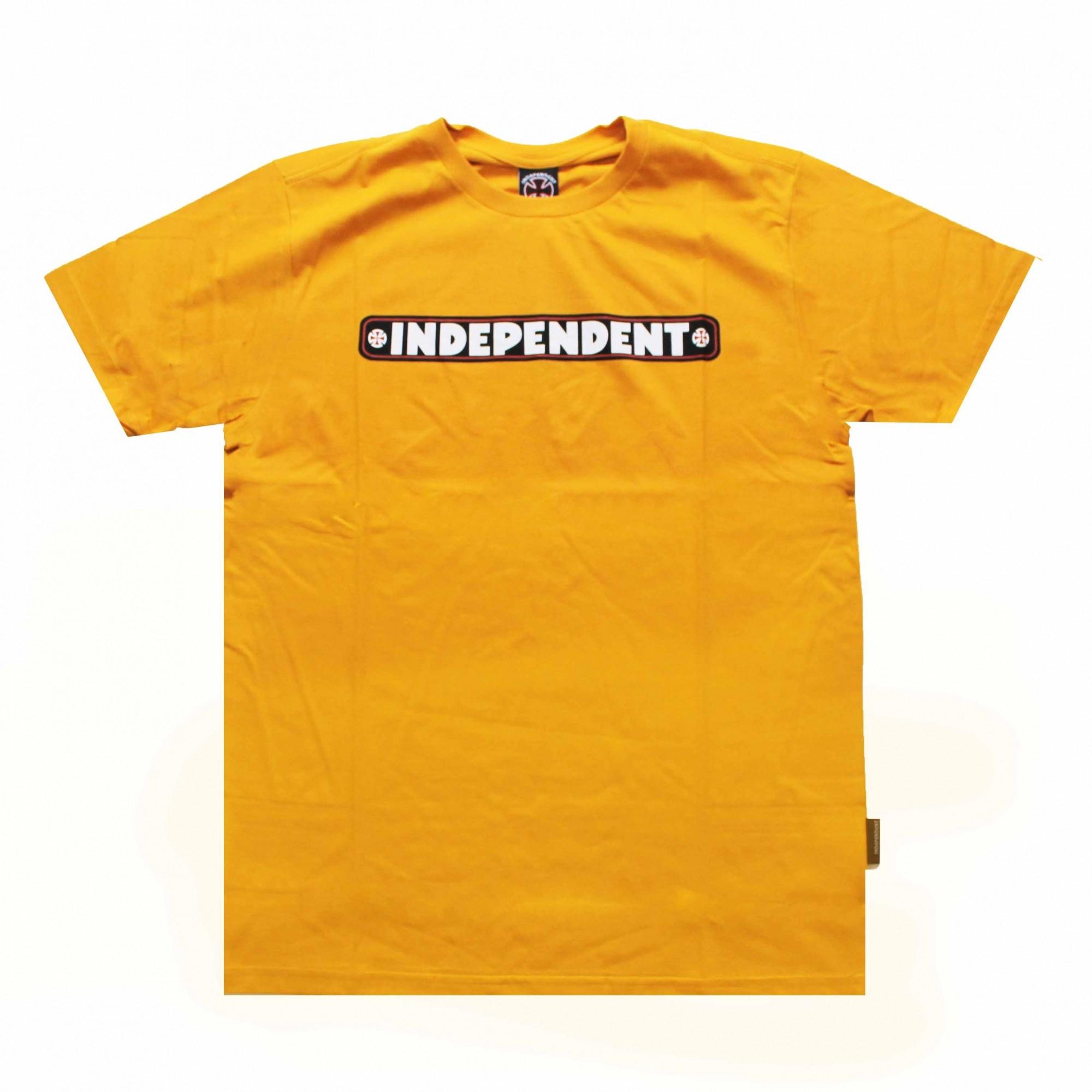 Camiseta Independent Bar Logo 3 Colors - Amarelo Mostarda