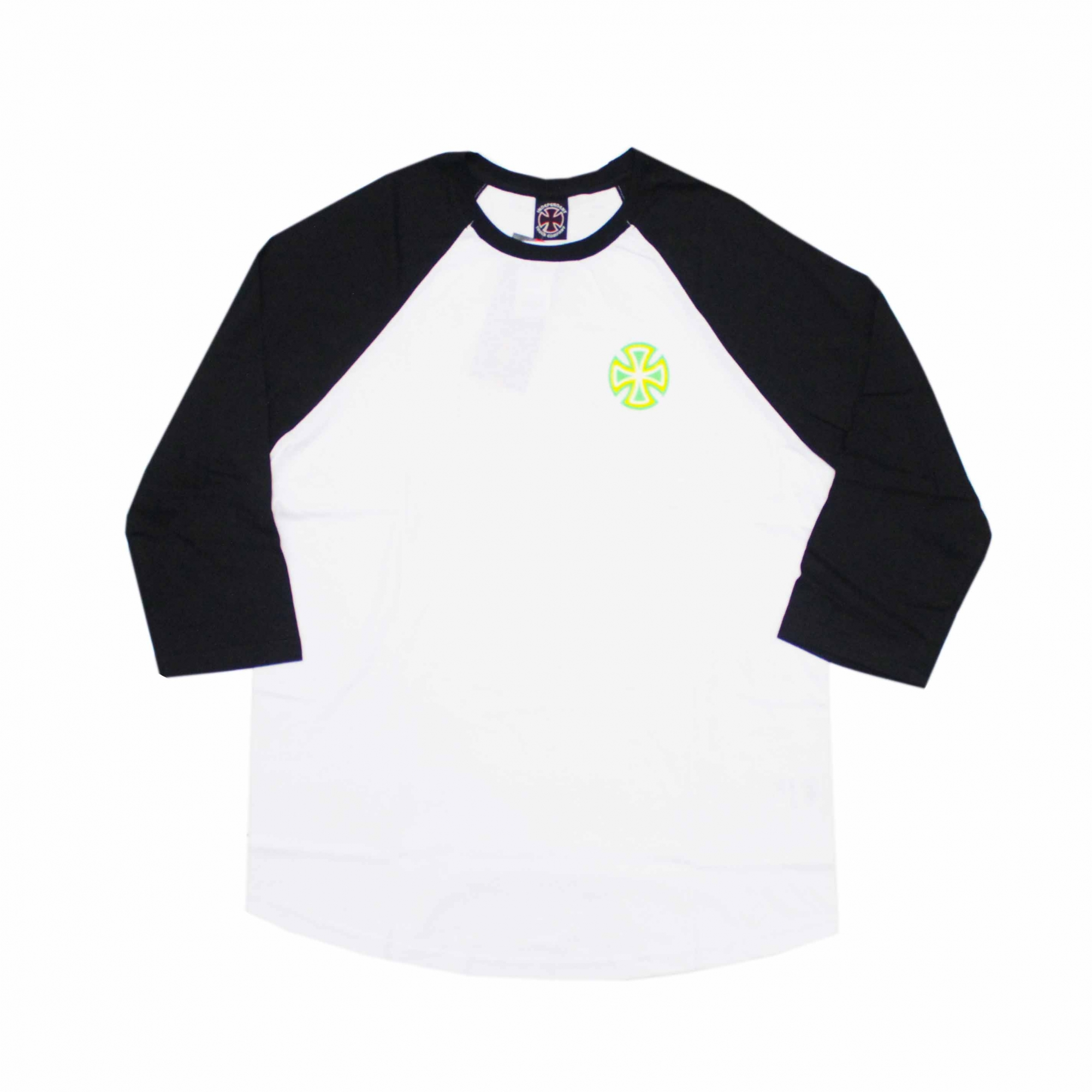 Camiseta Independent Raglan 3/4 Voltage - Branco/Preto