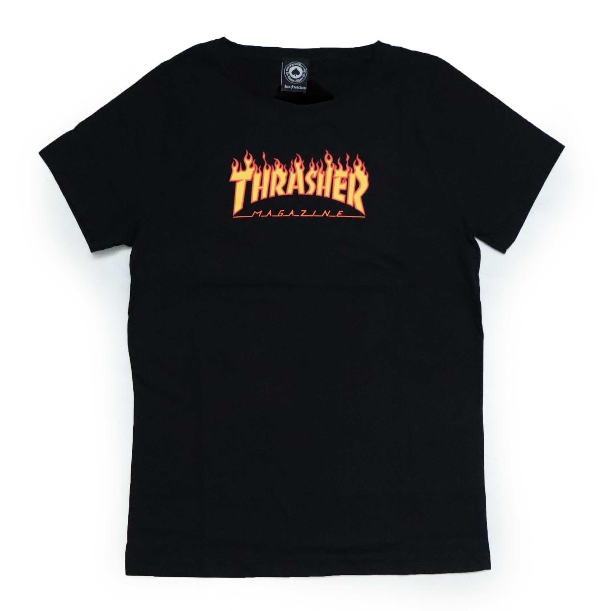 Camiseta Infantil Thrasher Magazine Classic Flame - Preto