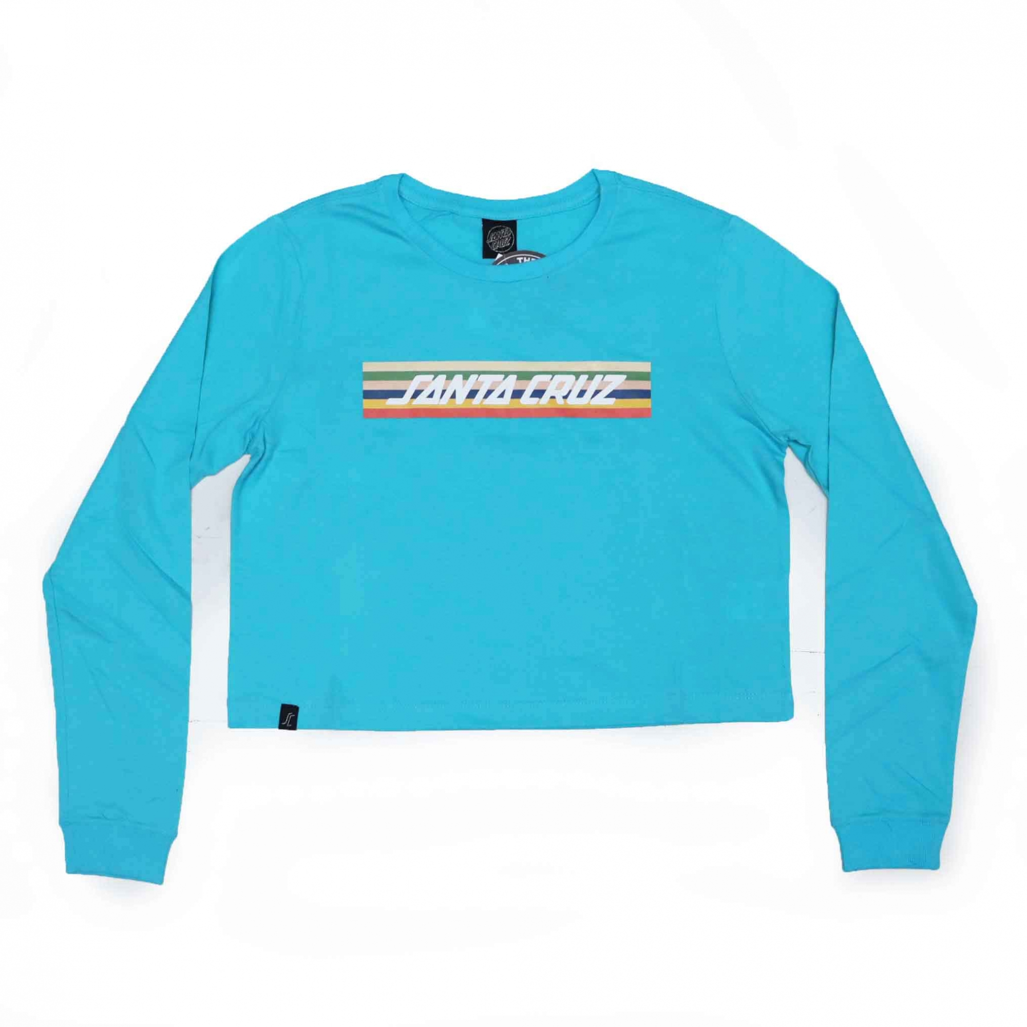 Camiseta Manga Longa Cropp Feminina Santa Cruz Stripe - Azul Turquesa