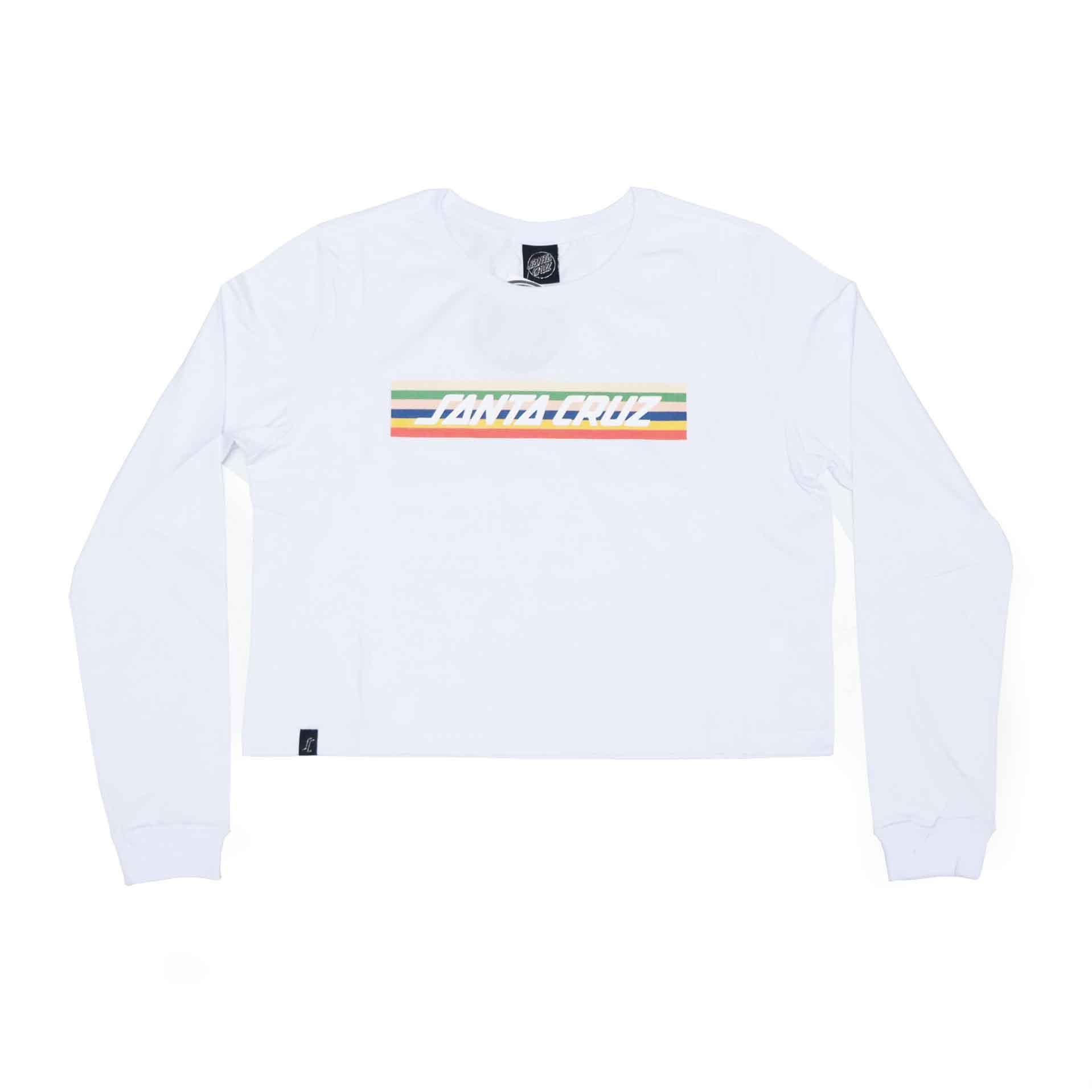 Camiseta Manga Longa Cropp Feminina Santa Cruz Stripe - Branco