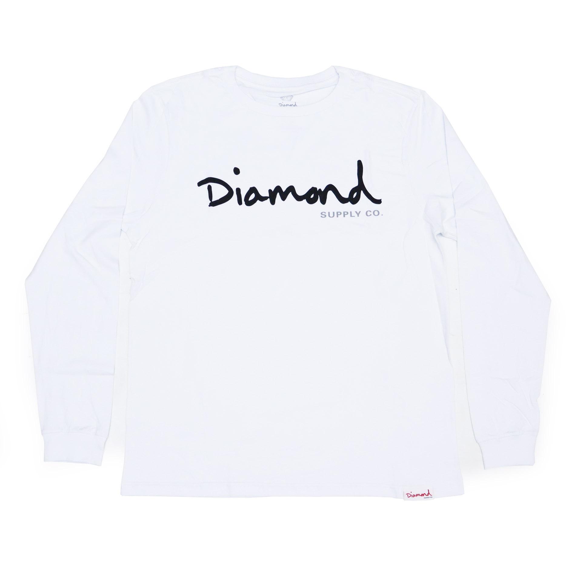 Camiseta Manga Longa Diamond Og Script - Branco