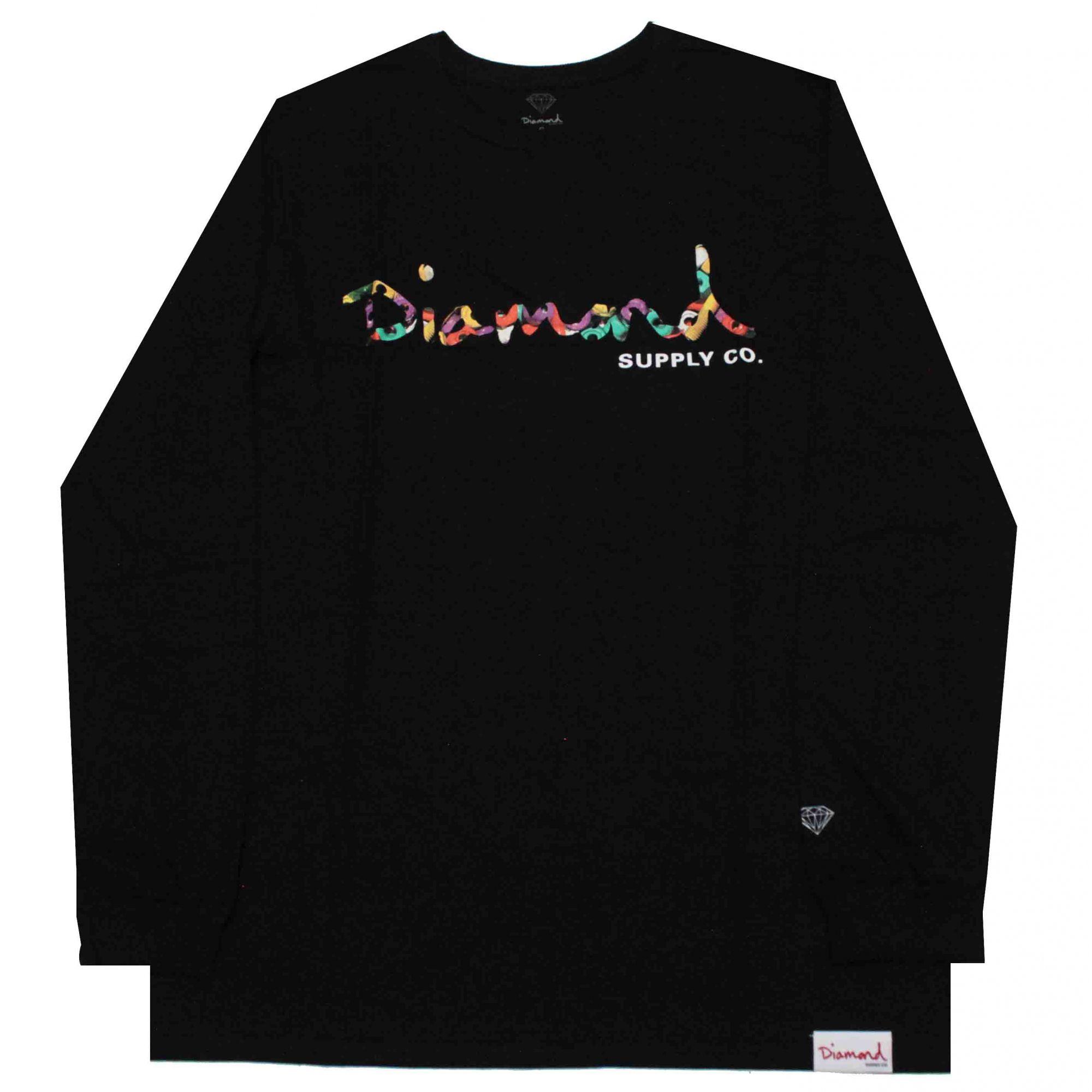 Camiseta Manga Longa Diamond Og Script Fasten Black