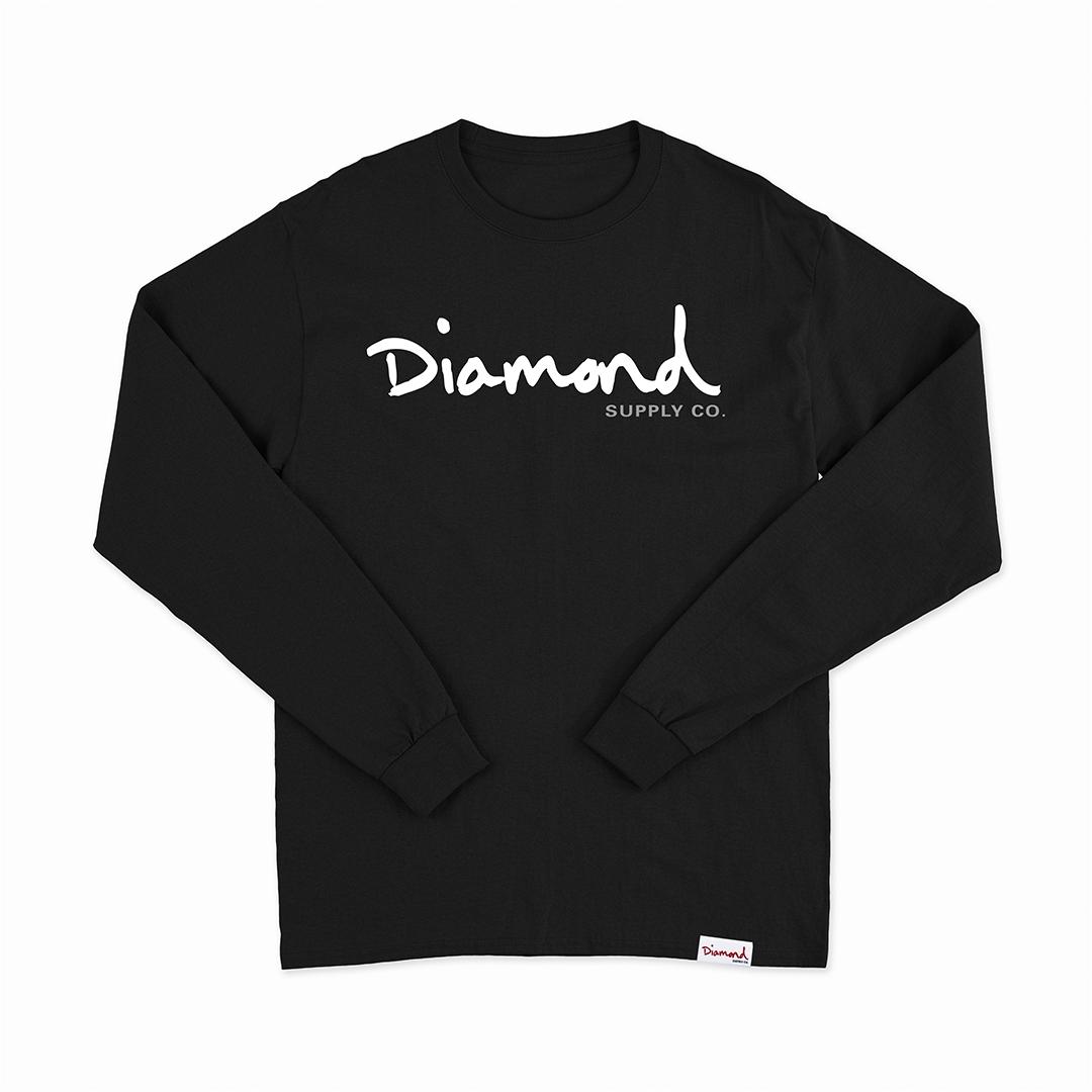Camiseta Manga Longa Diamond Og Script - Preto