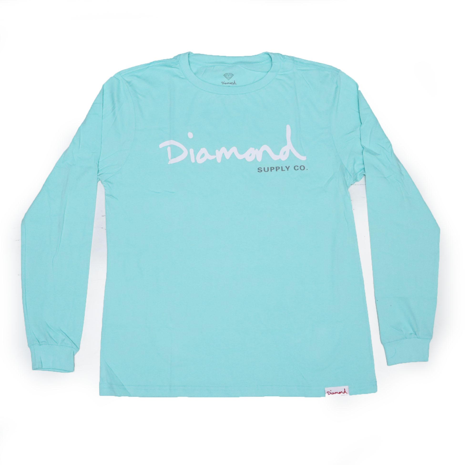 Camiseta Manga Longa Diamond Og Script - Verde Água