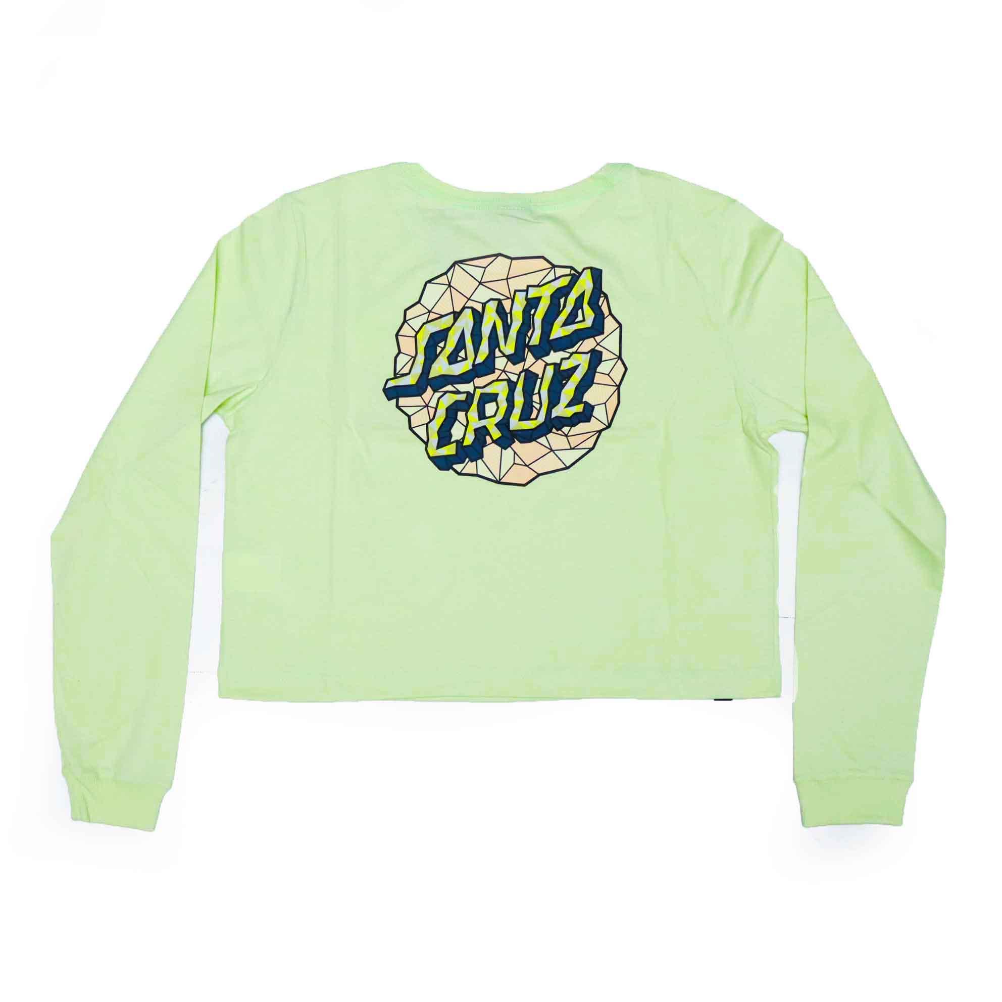 Camiseta Manga Longa Feminina Santa Cruz Cropped Facet Dot - Verde Claro