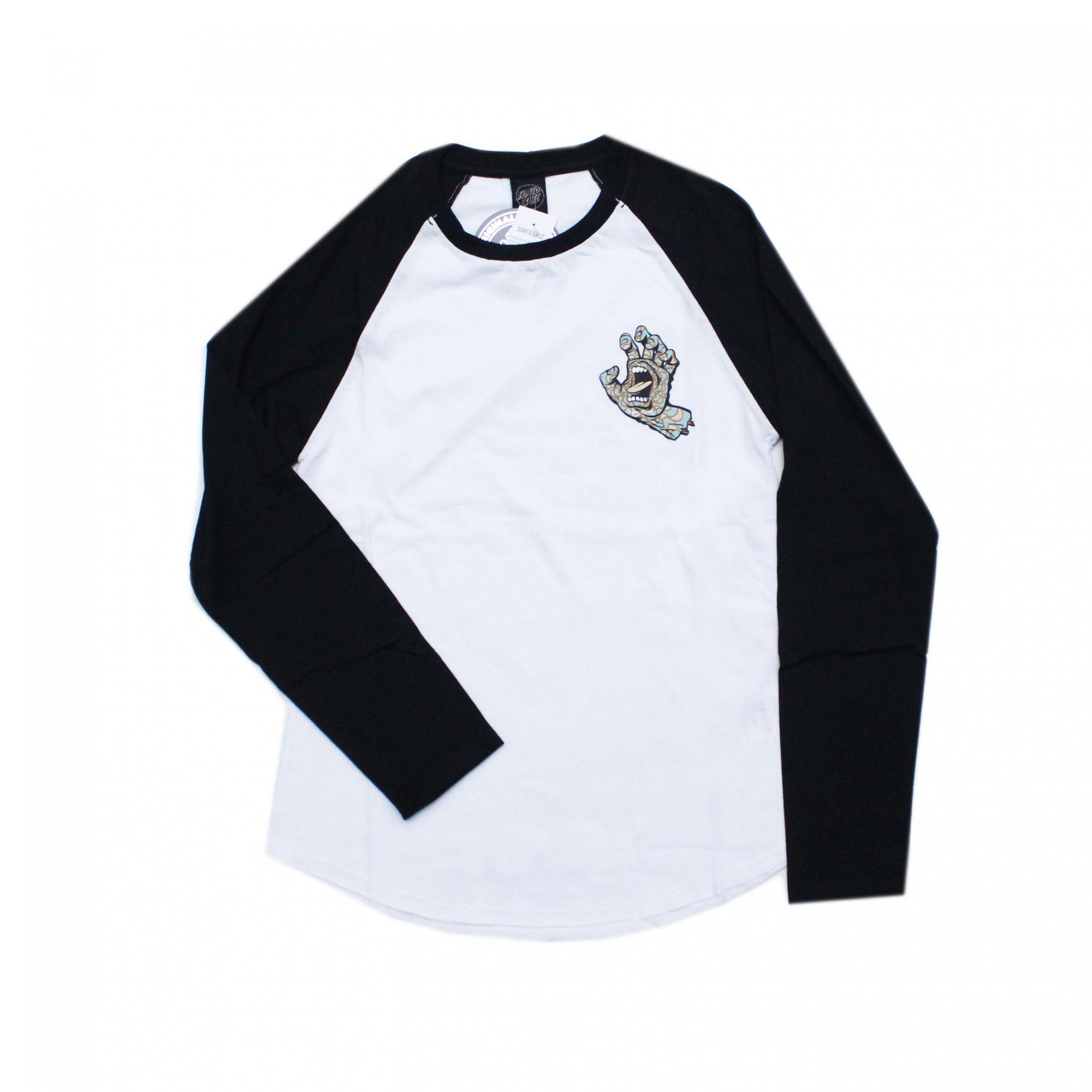 Camiseta Manga Longa Feminina Santa Cruz Raglan Kaleidohand Baseball Branco