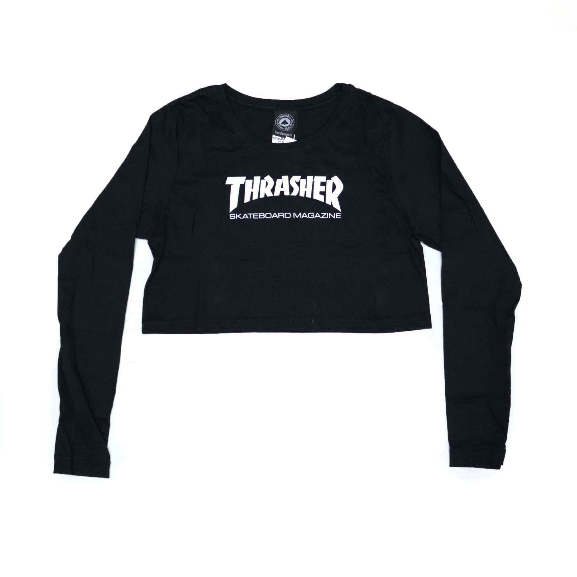 Camiseta Manga Longa Feminina Thrasher Crop Magazine Skate Mag - Preto