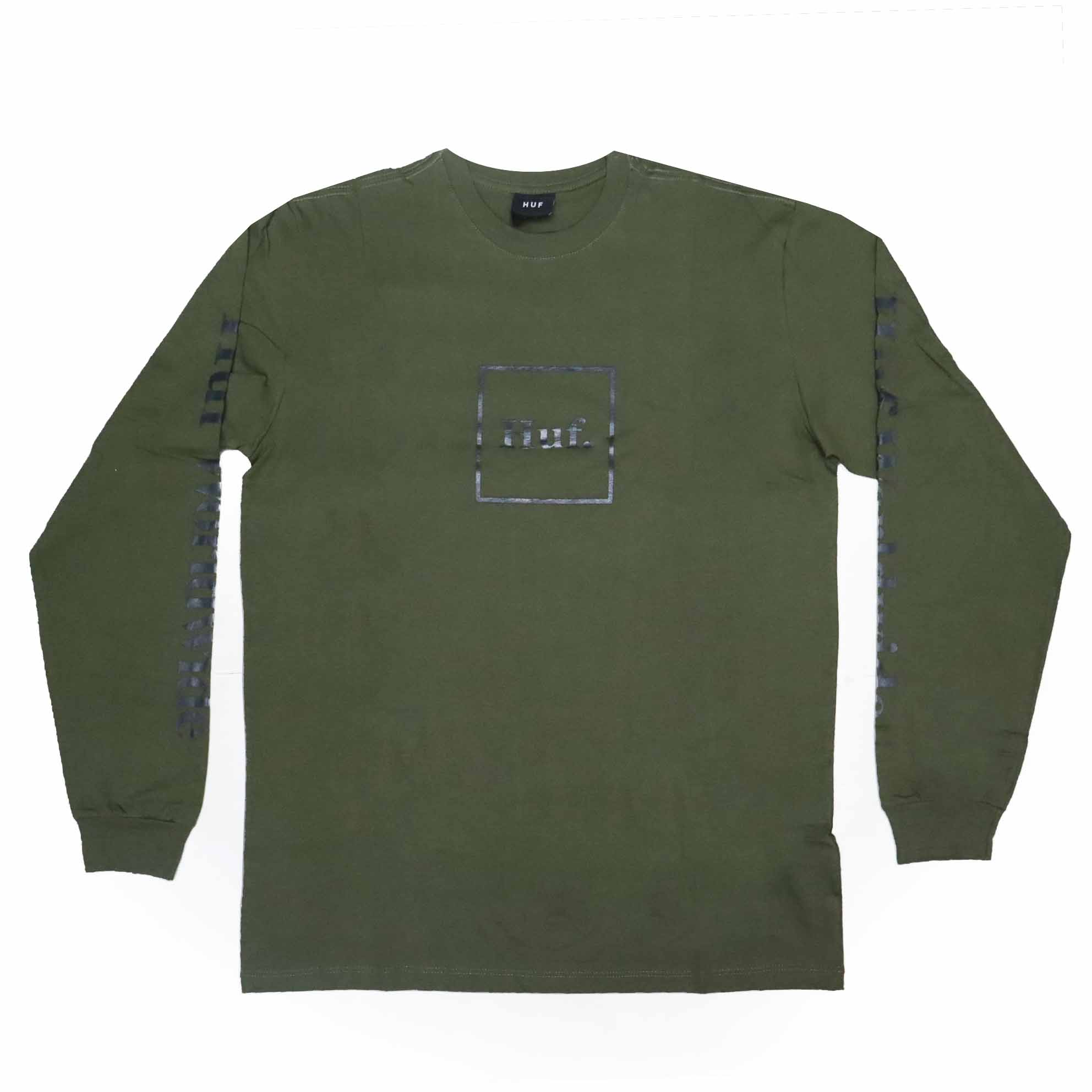 Camiseta Manga Longa HUF Essentials Domestic Box - Verde Militar