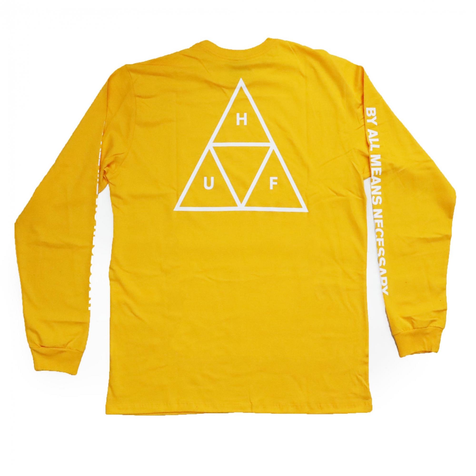 Camiseta Manga Longa HUF Essentials TT - Amarelo