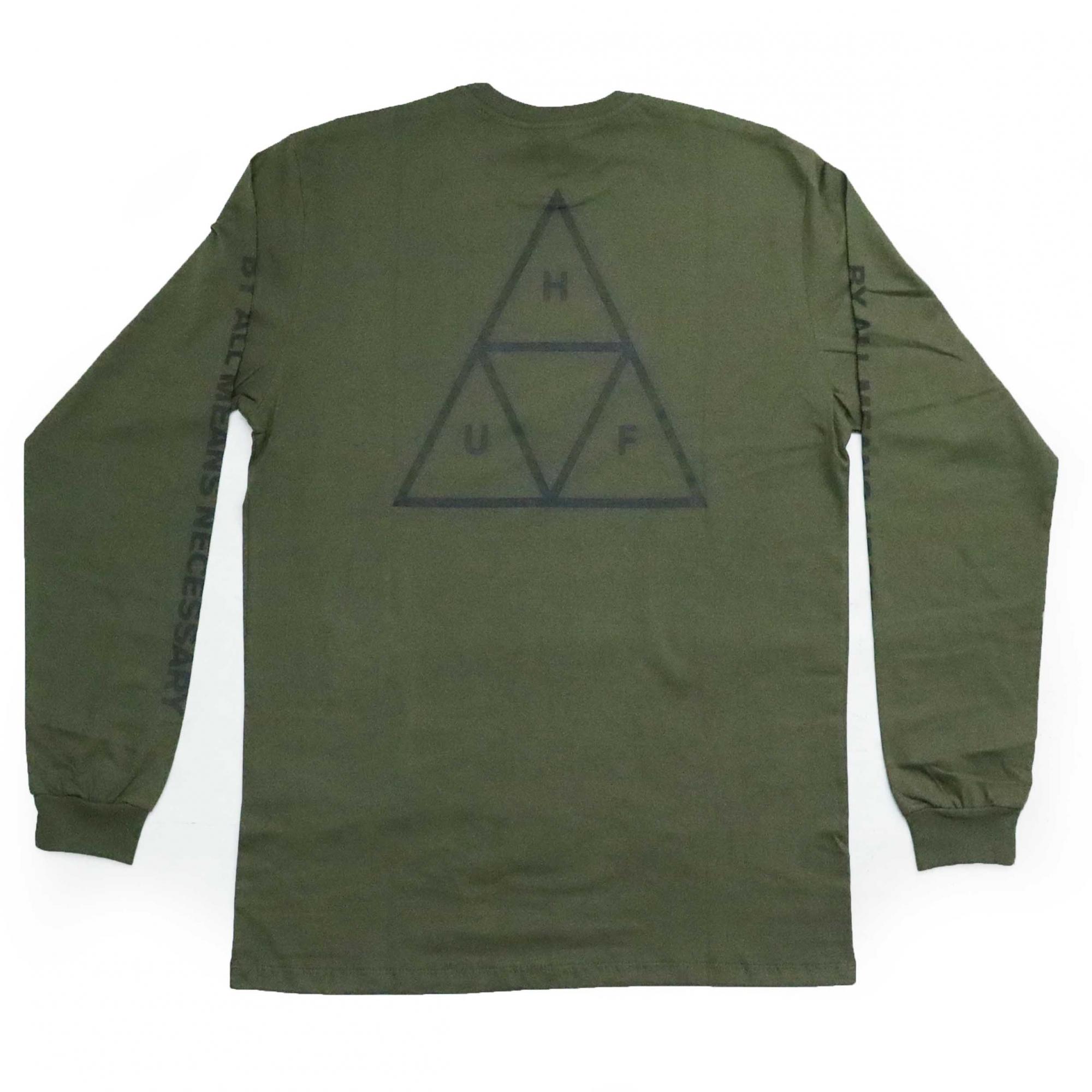Camiseta Manga Longa HUF Essentials TT - Verde Militar