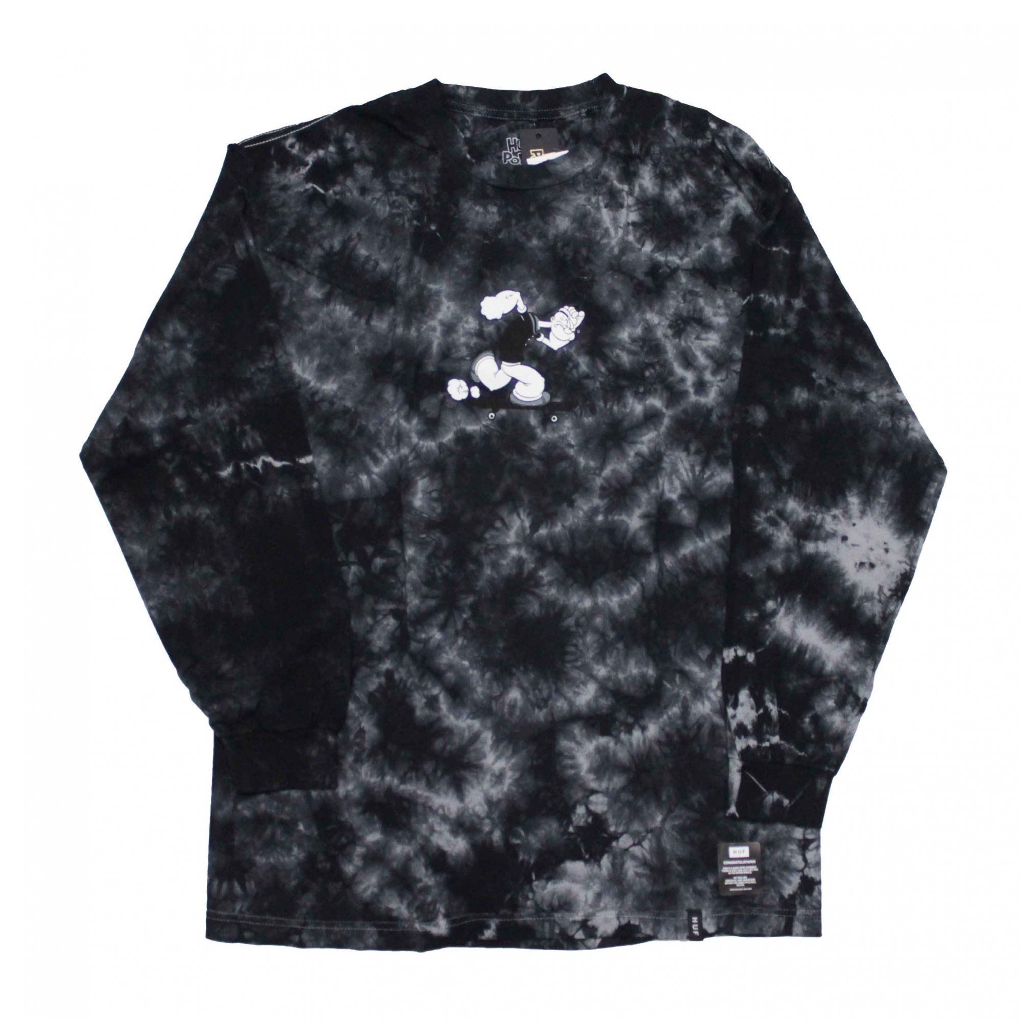 Camiseta Manga Longa HUF x Popeye Skates Tie Dye Preto (Importado)