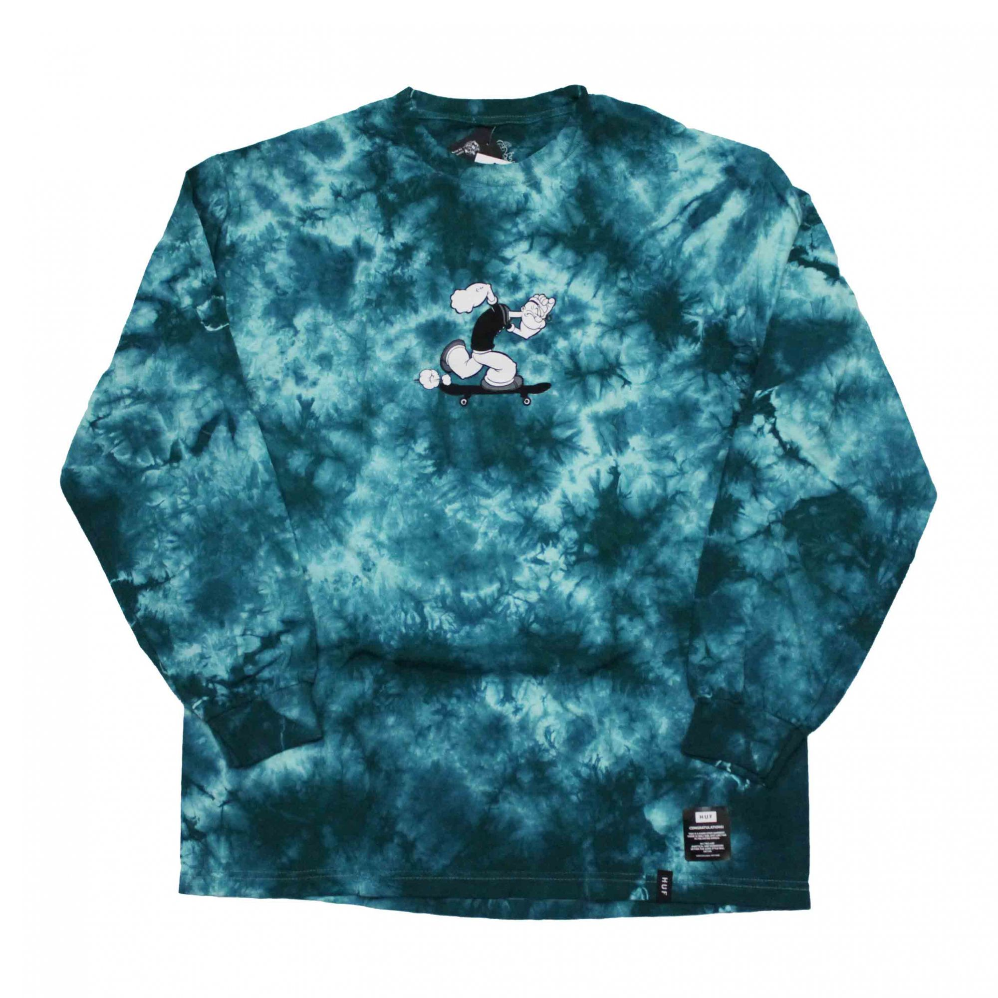 Camiseta Manga Longa HUF x Popeye Skates Tie Dye Verde (Importado)
