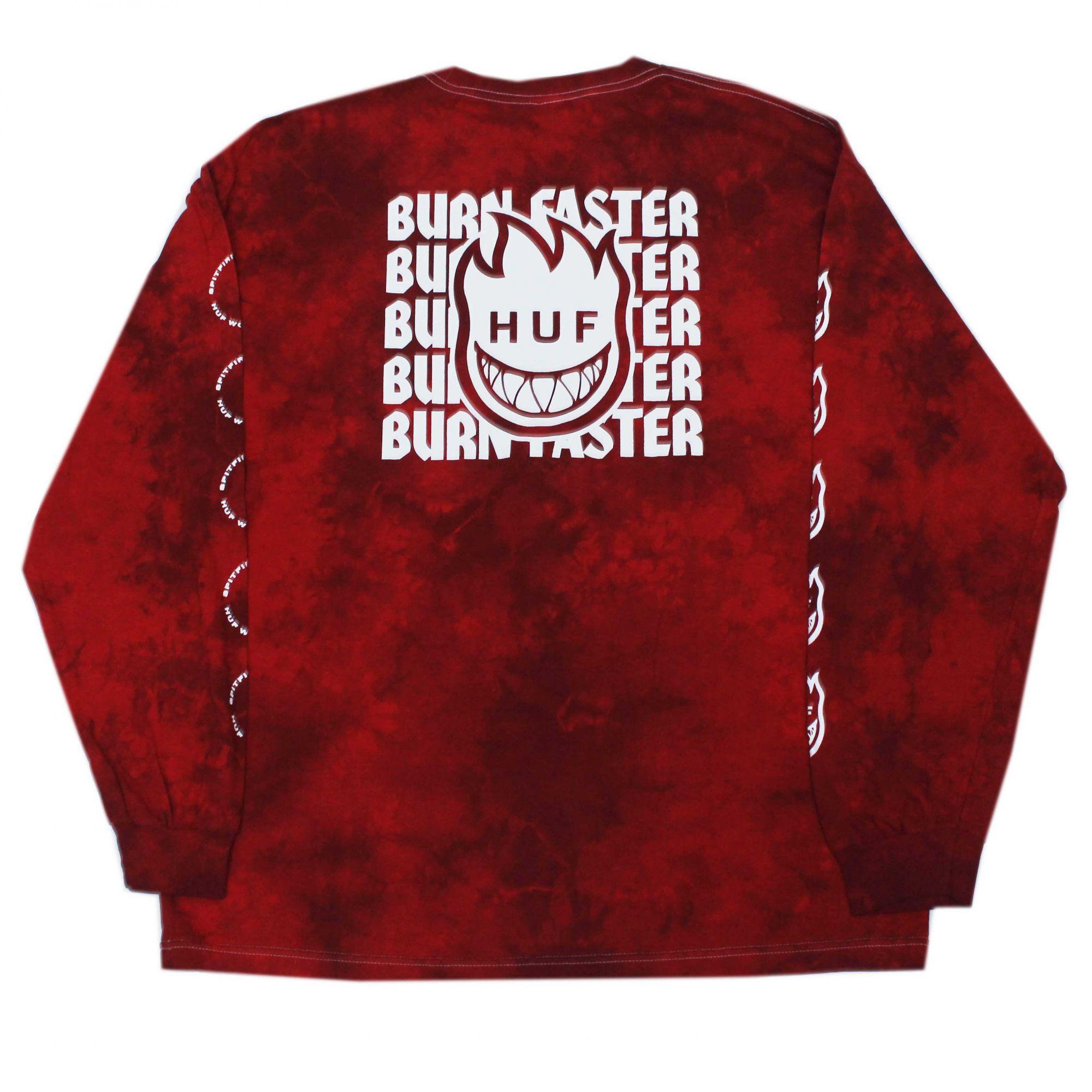Camiseta Manga Longa HUF x Spitfire Burn Faster - Tie Dye Vermelho (Importado)