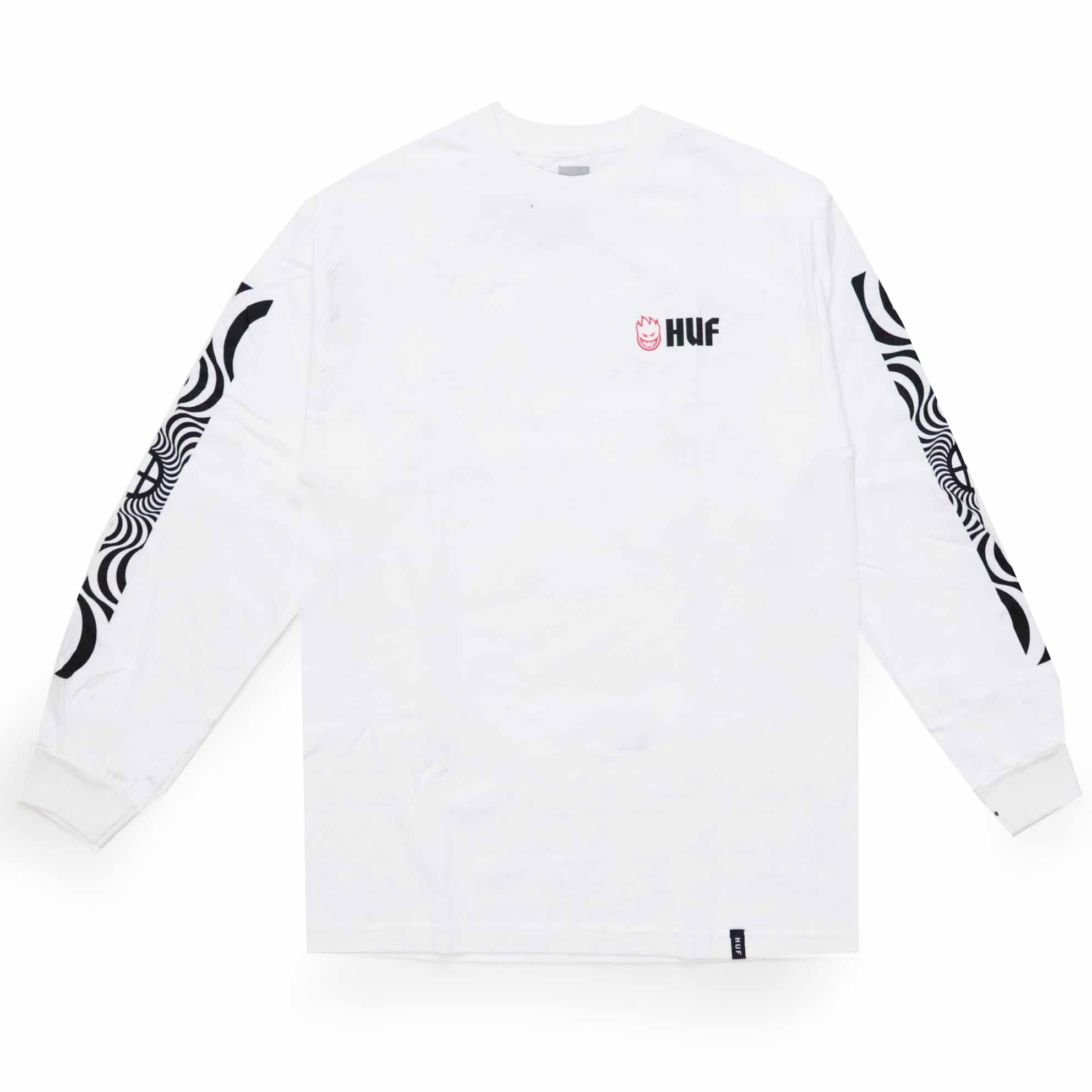 Camiseta Manga Longa HUF x Spitfire Swirls - Branco (Importado)