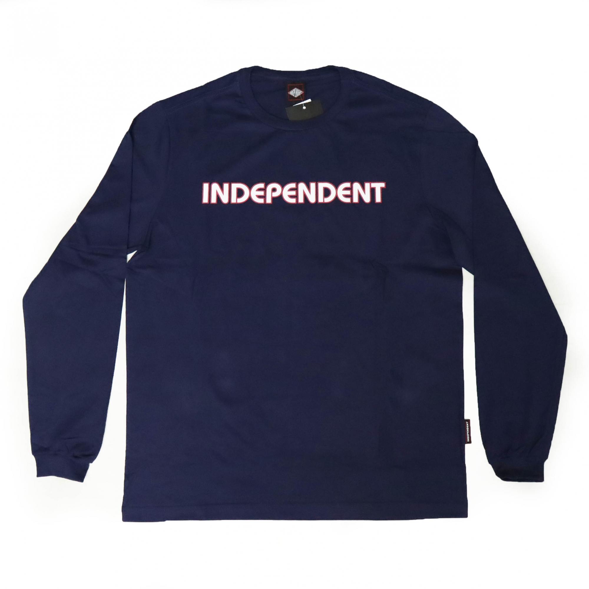 Camiseta Manga Longa Independent Bar Logo - Azul Marinho