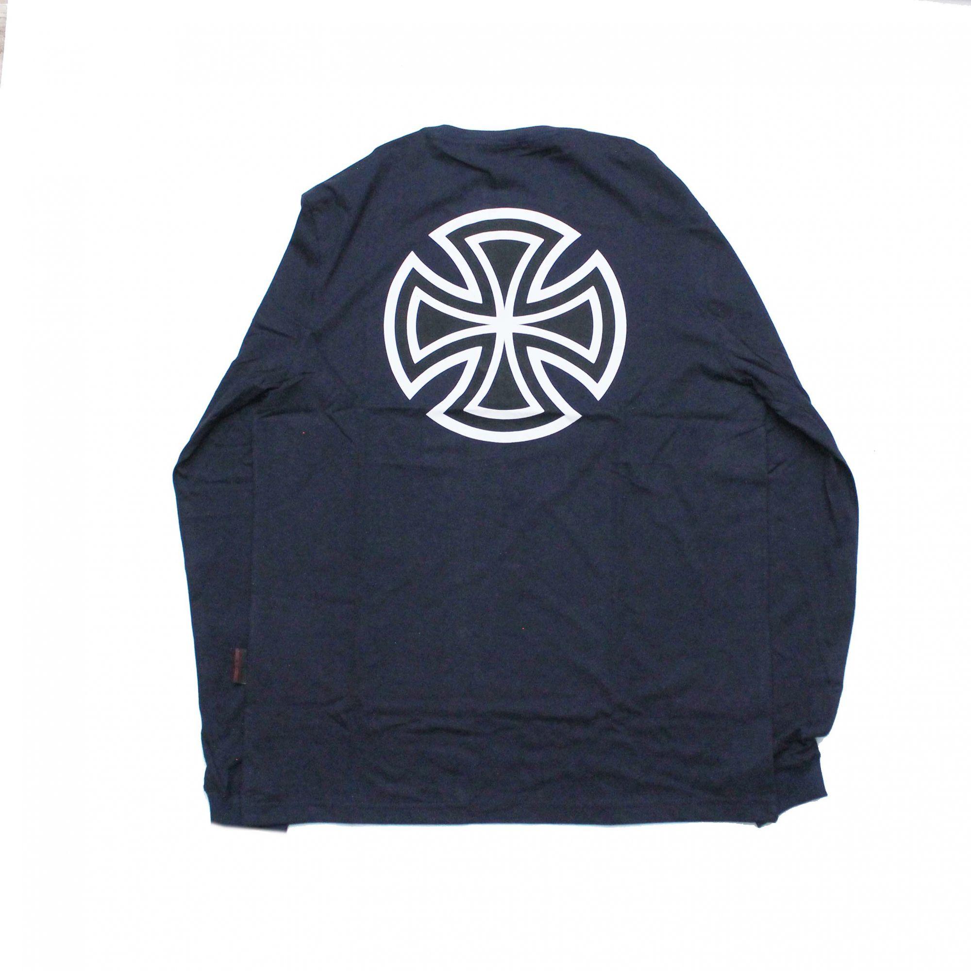 Camiseta Manga Longa Independent Black Bar Cross Azul Marinho
