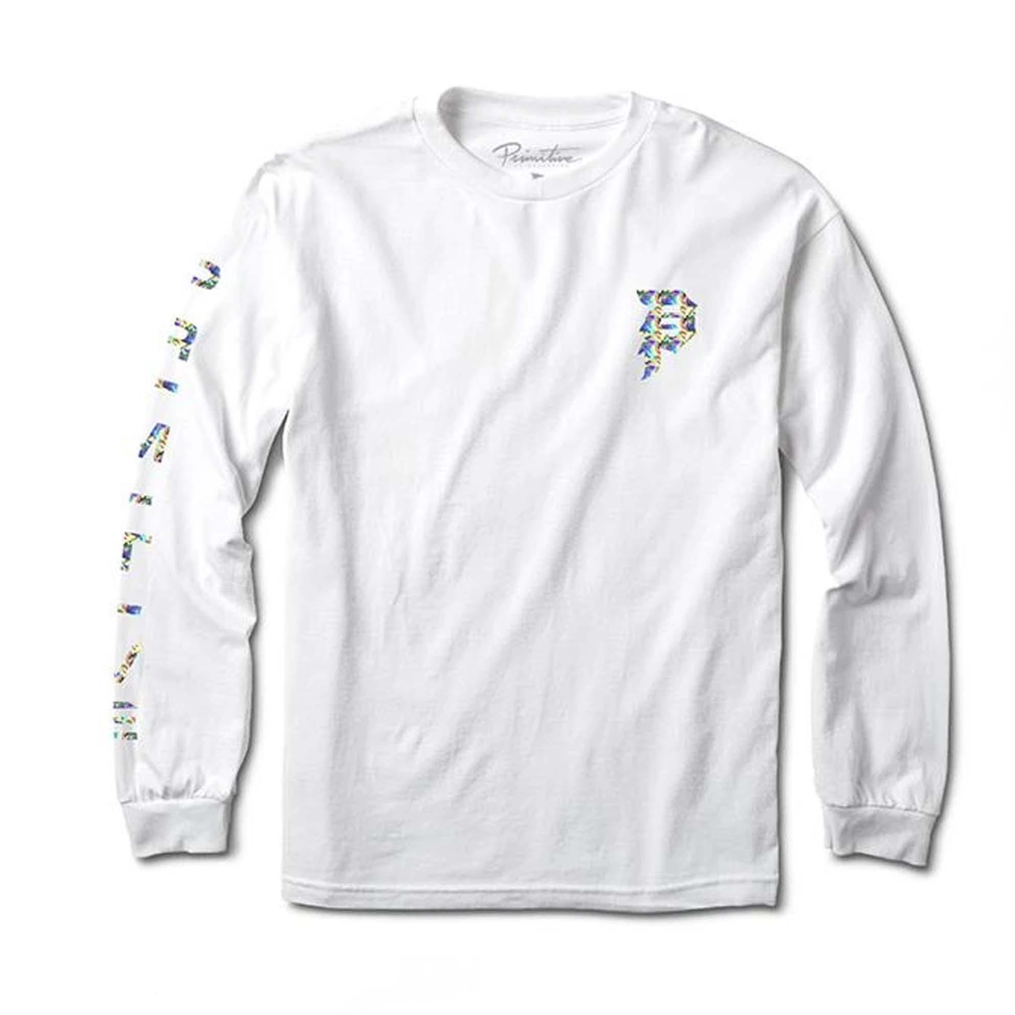 Camiseta Manga Longa Primitive Dirty P Hologram - Branco (Estampa Holográfica/Importado)