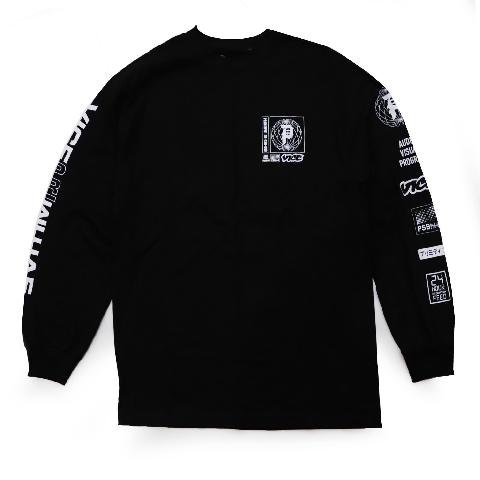 Camiseta Manga Longa Primitive x Vice Feed - Preto (Importado)