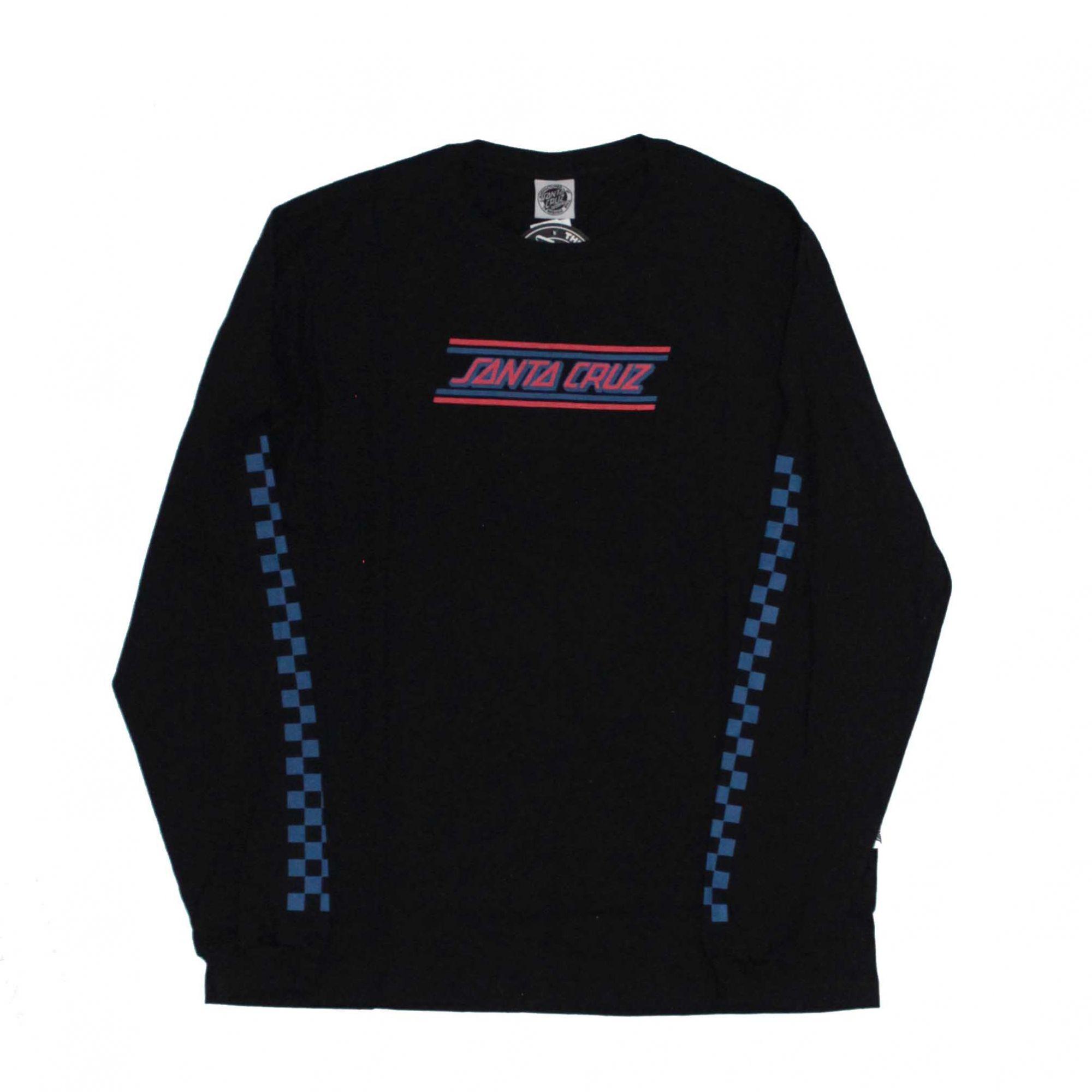 Camiseta Manga Longa Santa Cruz Check Strip Hue - Preto