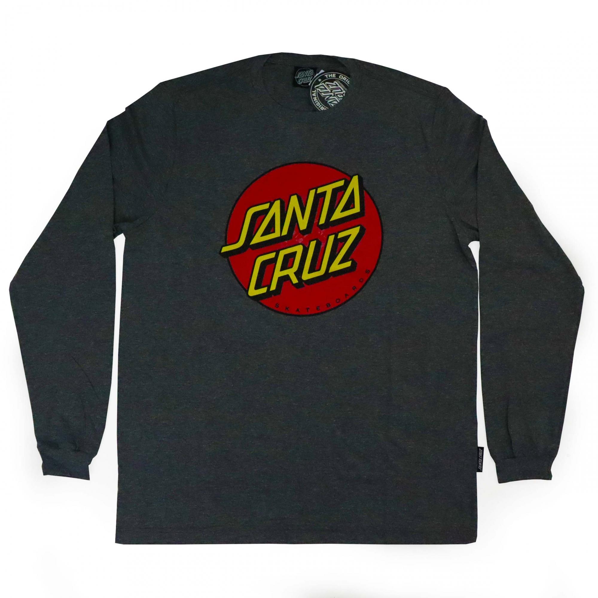 Camiseta Manga Longa Santa Cruz Classic Dot Front - Chumbo Mescla