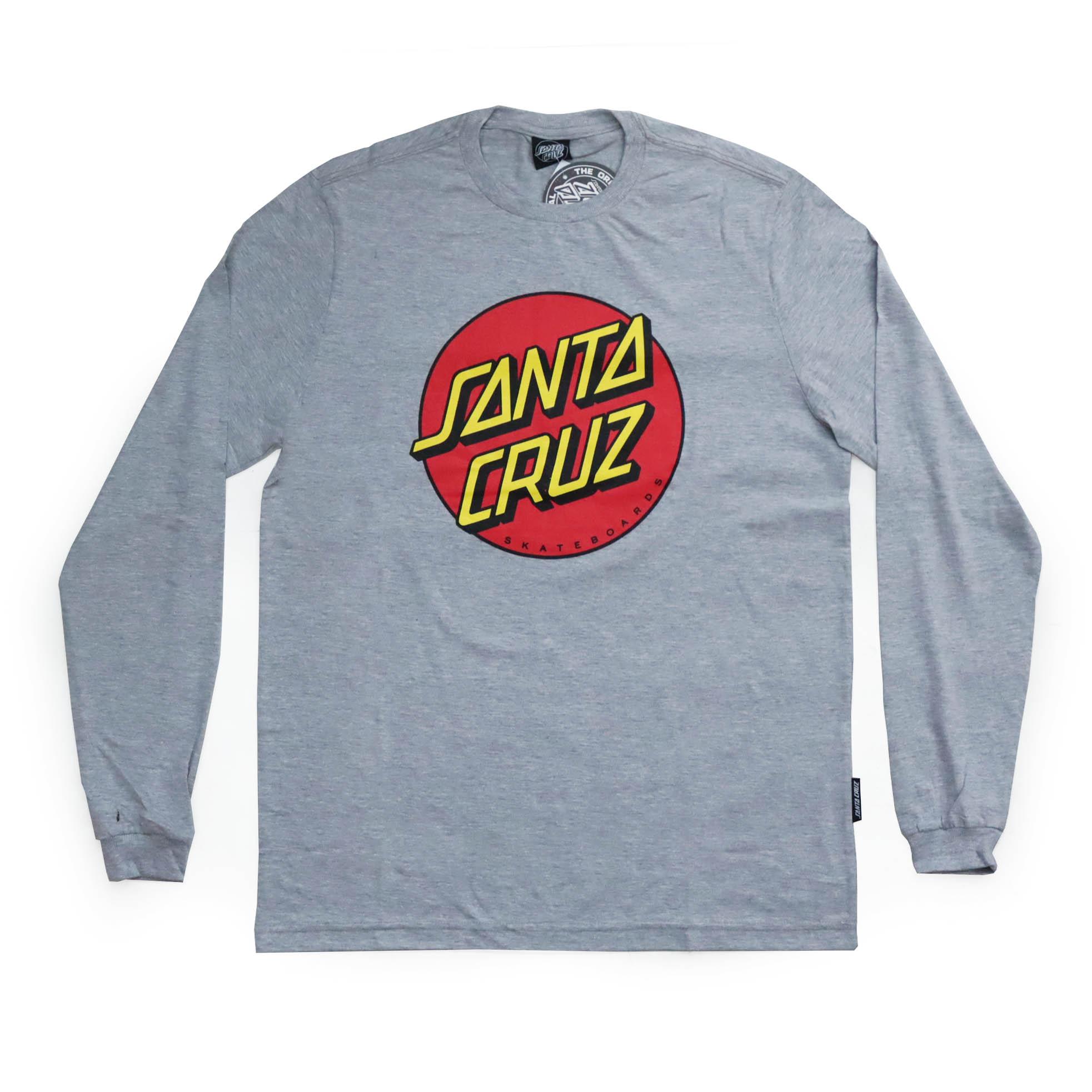 Camiseta Manga Longa Santa Cruz Classic Dot Front - Cinza Mescla