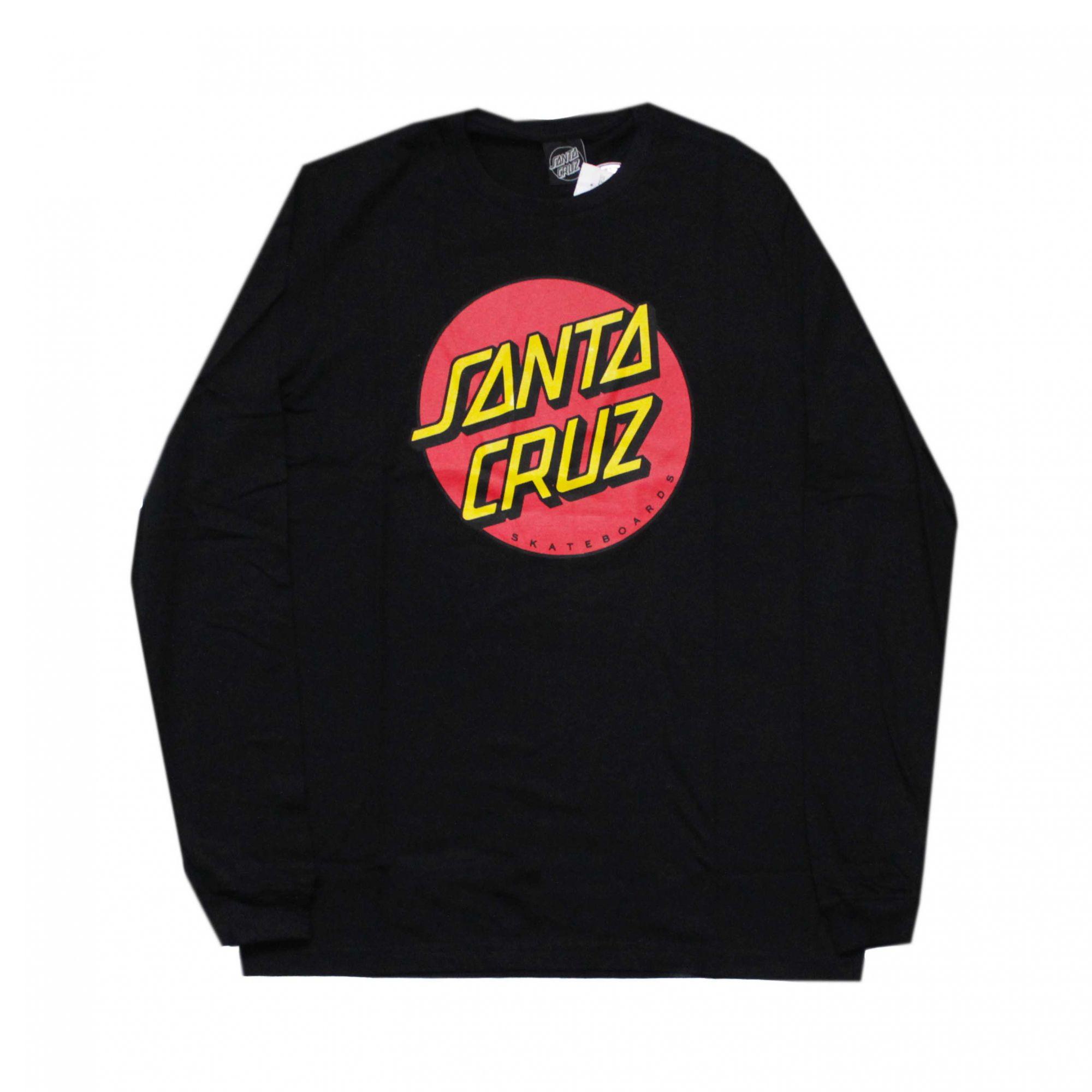 Camiseta Manga Longa Santa Cruz Classic Dot Preto