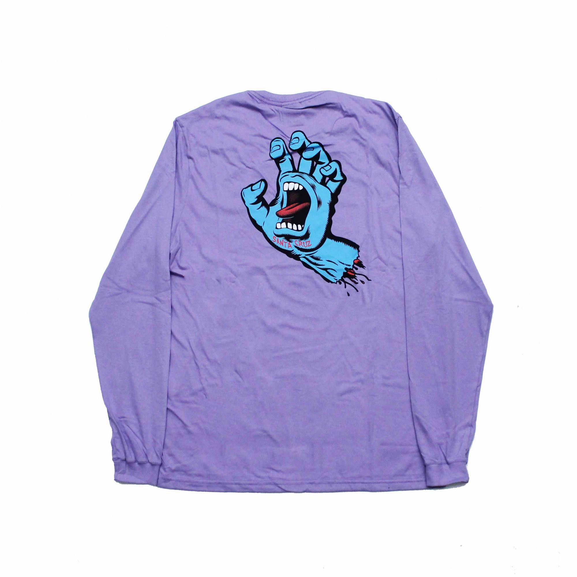 Camiseta Manga Longa Santa Cruz Frontandback Screaming Hand Lilás