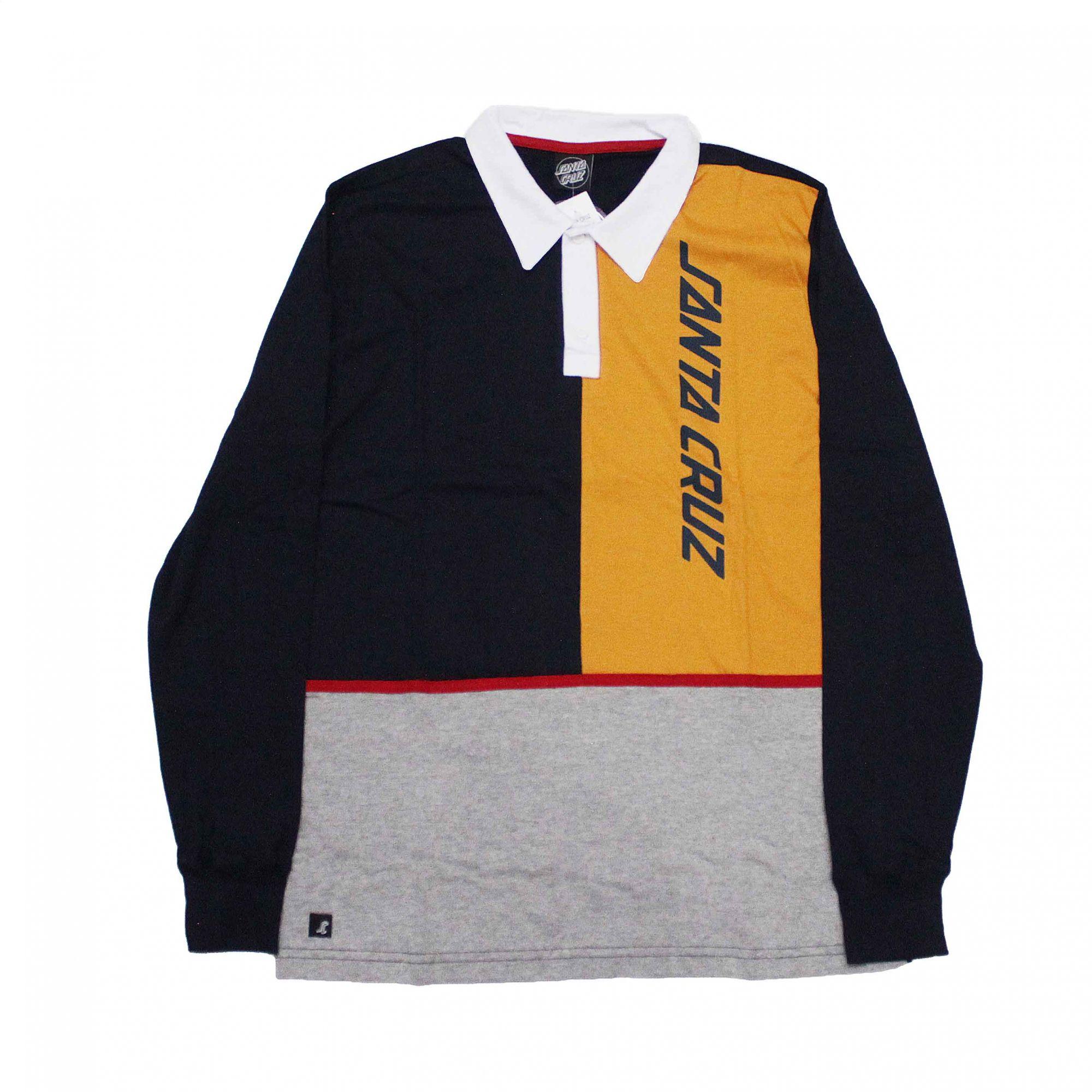Camiseta Manga Longa Santa Cruz Polo Regulete Azul Marinho/Amarelo