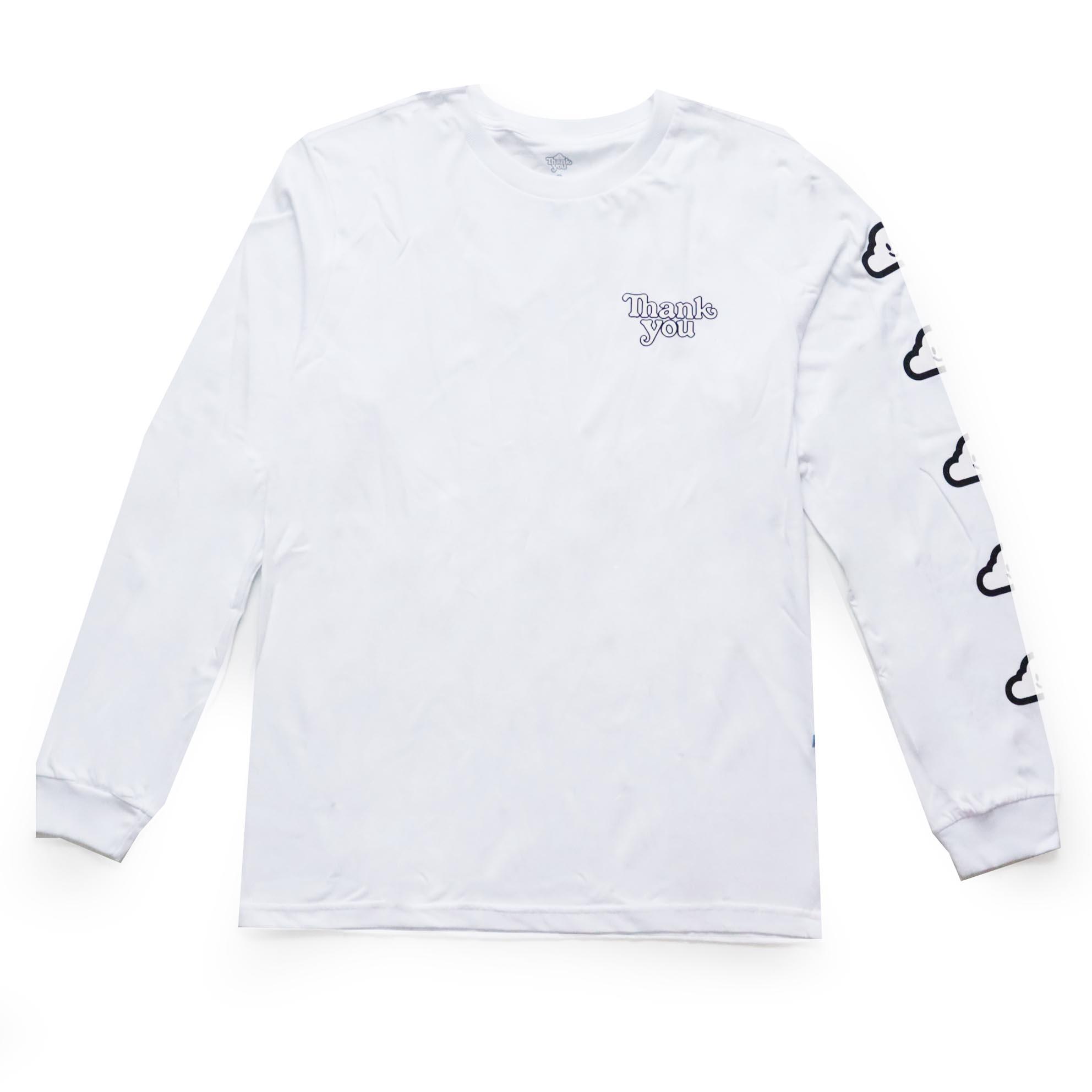 Camiseta Manga Longa Thank You Cloud - Branco