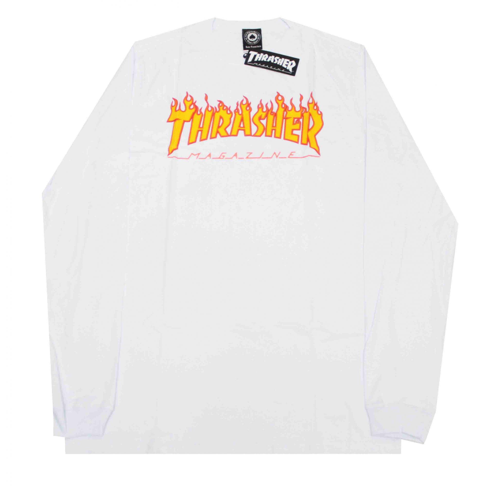 Camiseta Manga Longa Thrasher Magazine Flame - Branco