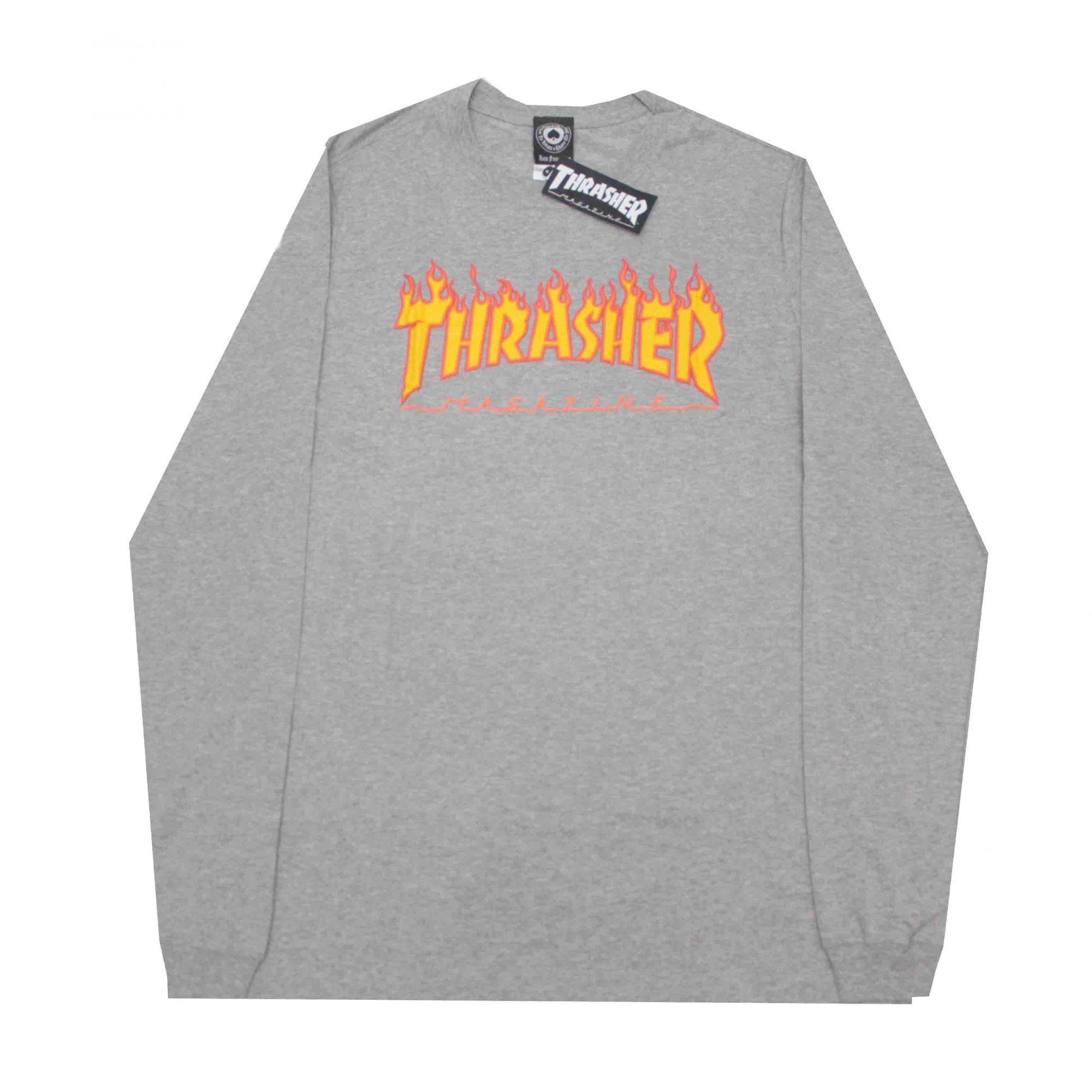 Camiseta Manga Longa Thrasher Magazine Flame Grey