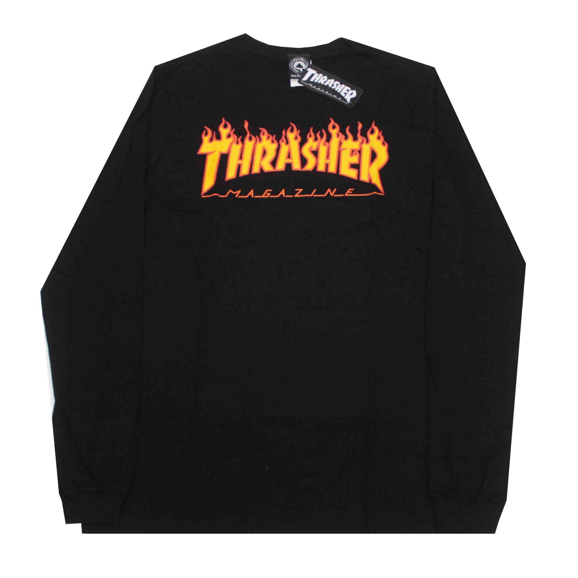 Camiseta Manga Longa Thrasher Magazine Flame Preto