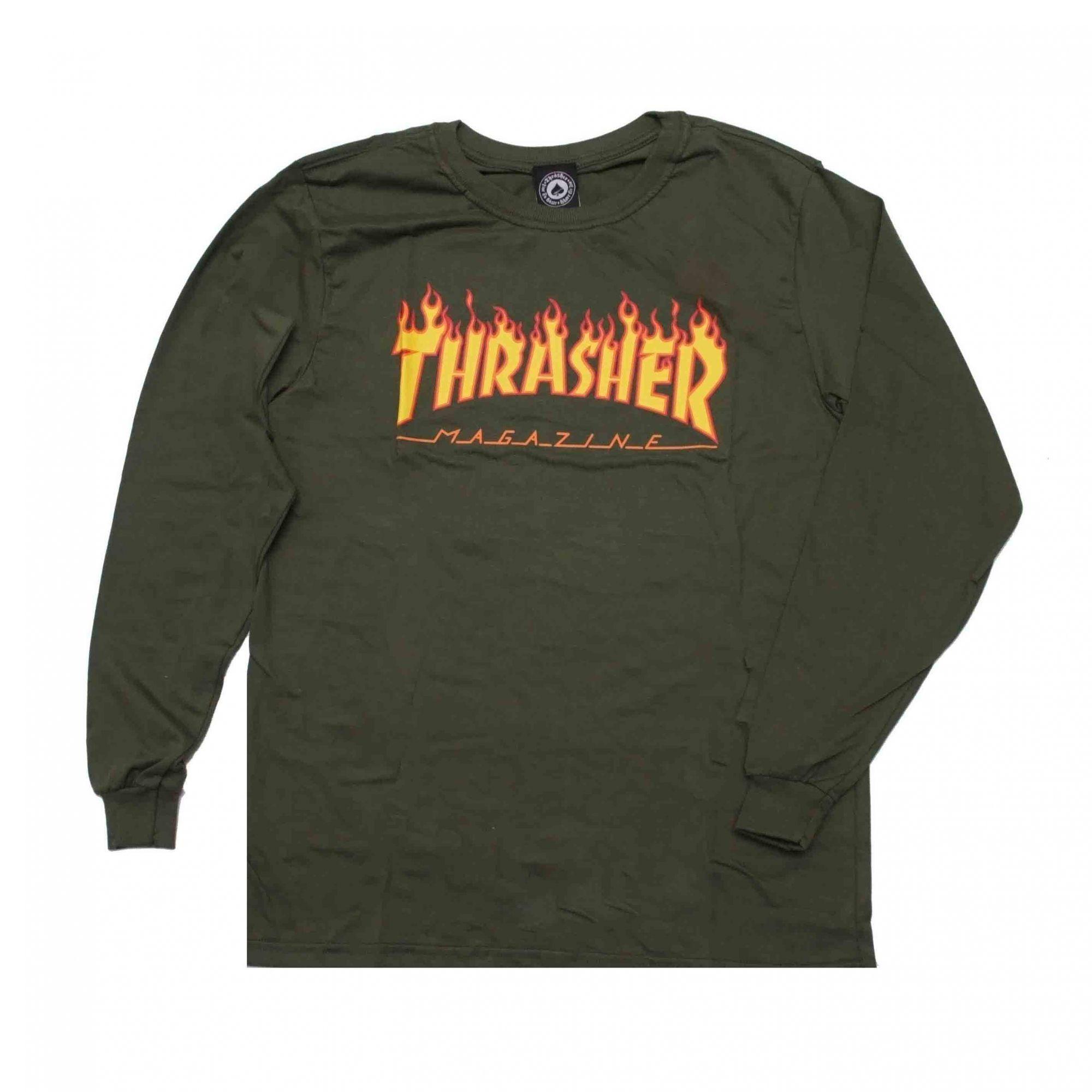 Camiseta Manga Longa Thrasher Magazine Flame Verde Militar